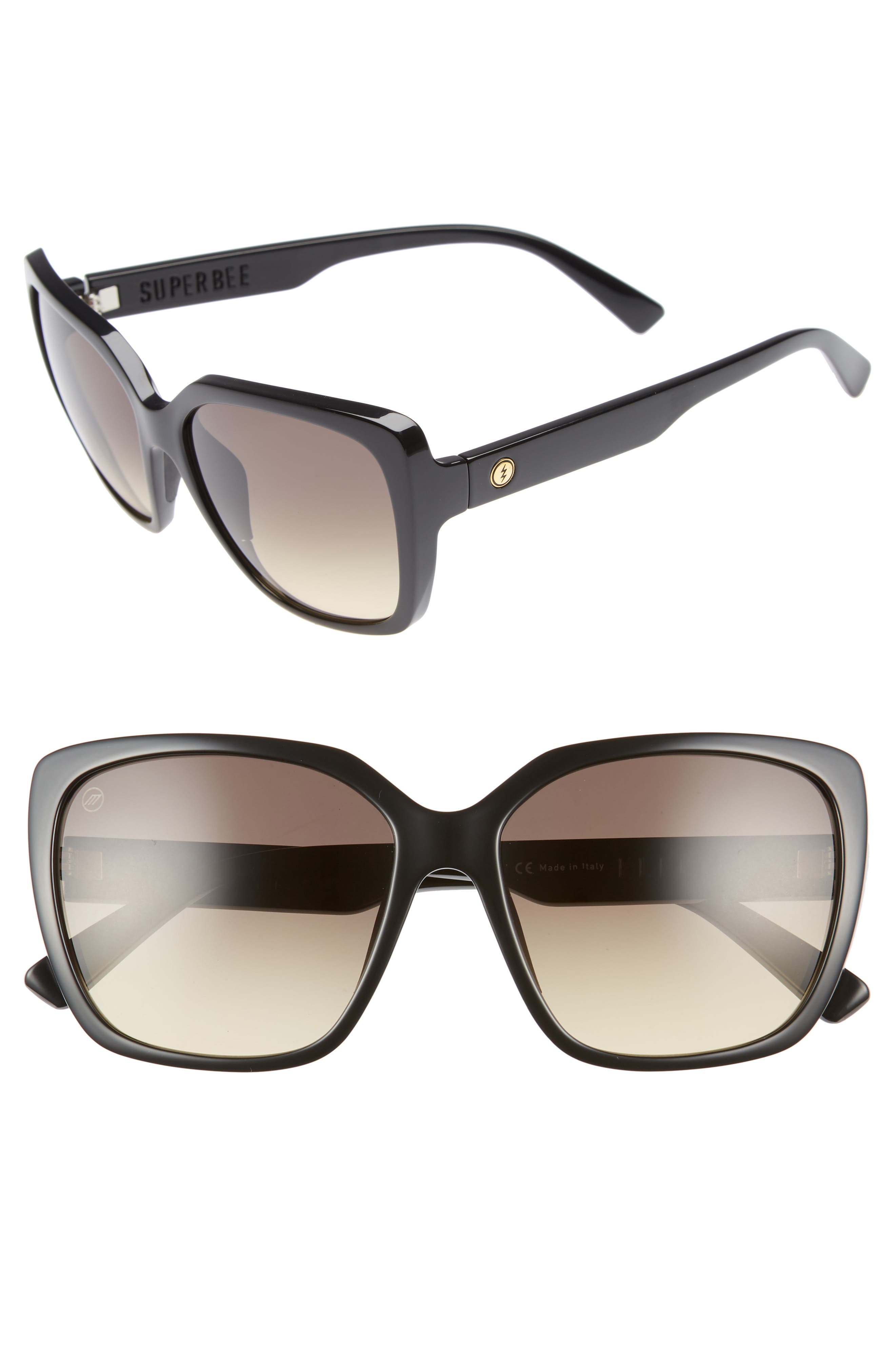 Super Bee 56mm Square Sunglasses,                             Main thumbnail 1, color,                             Gloss Black/ Black Gradient