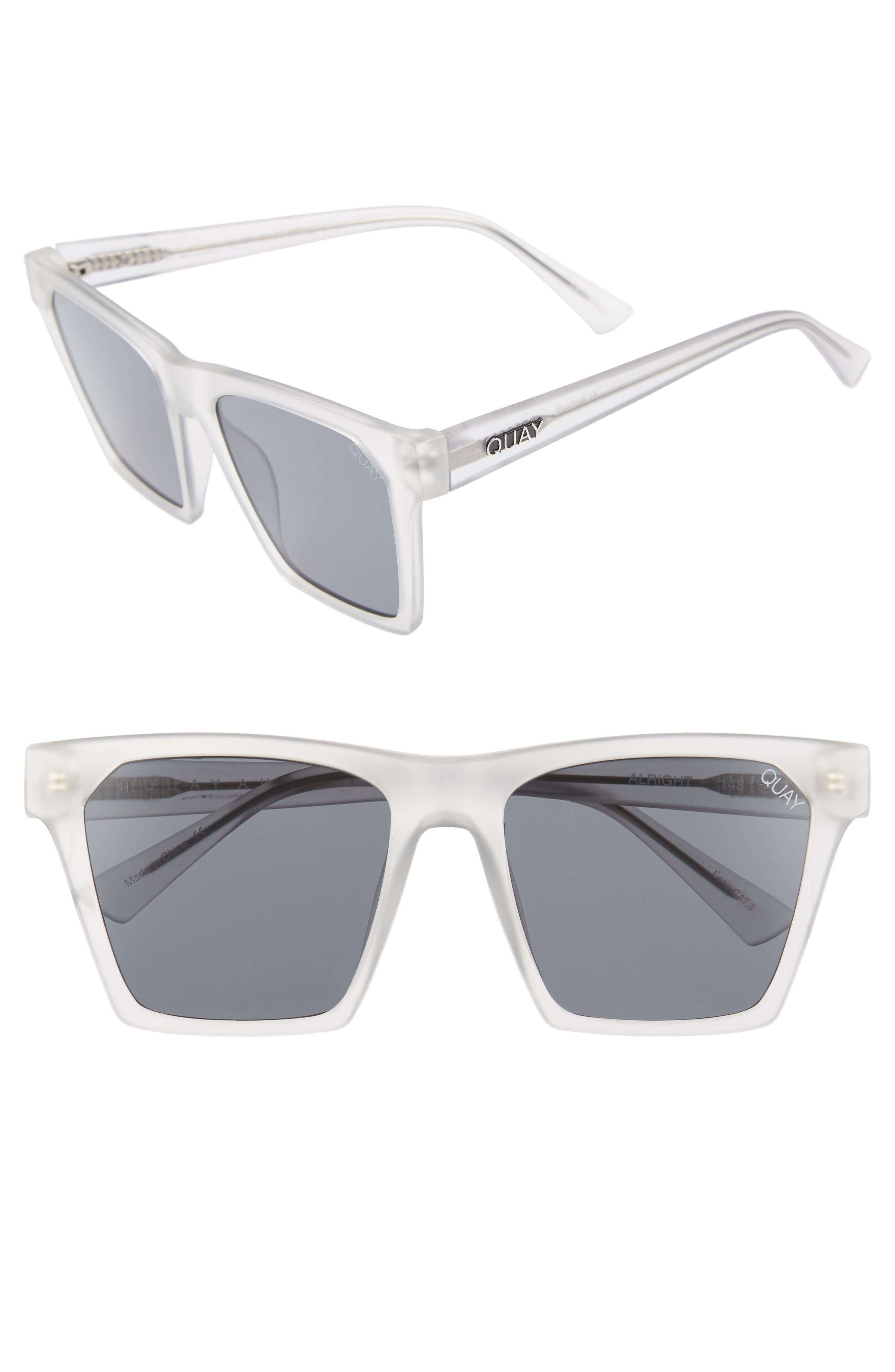 x Missguided Alright 55mm Square Sunglasses,                             Main thumbnail 1, color,                             White/ Smoke