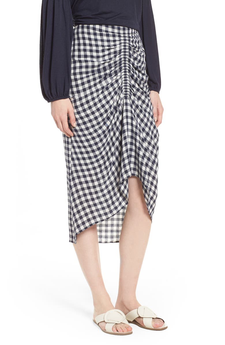 Ruched Front Gingham Skirt