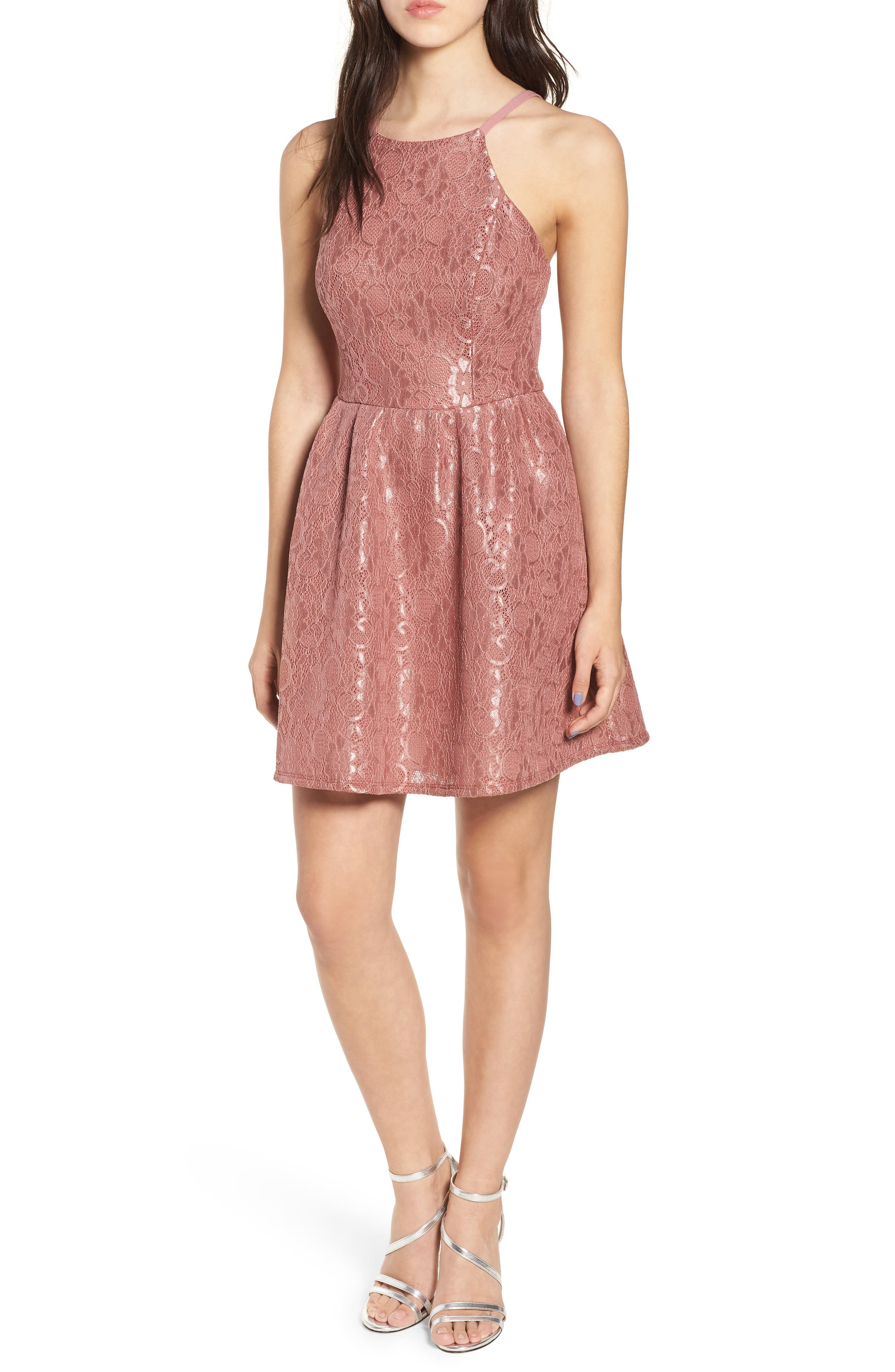 Lace Halter Low Back Party Dress,                         Main,                         color, New Mauve