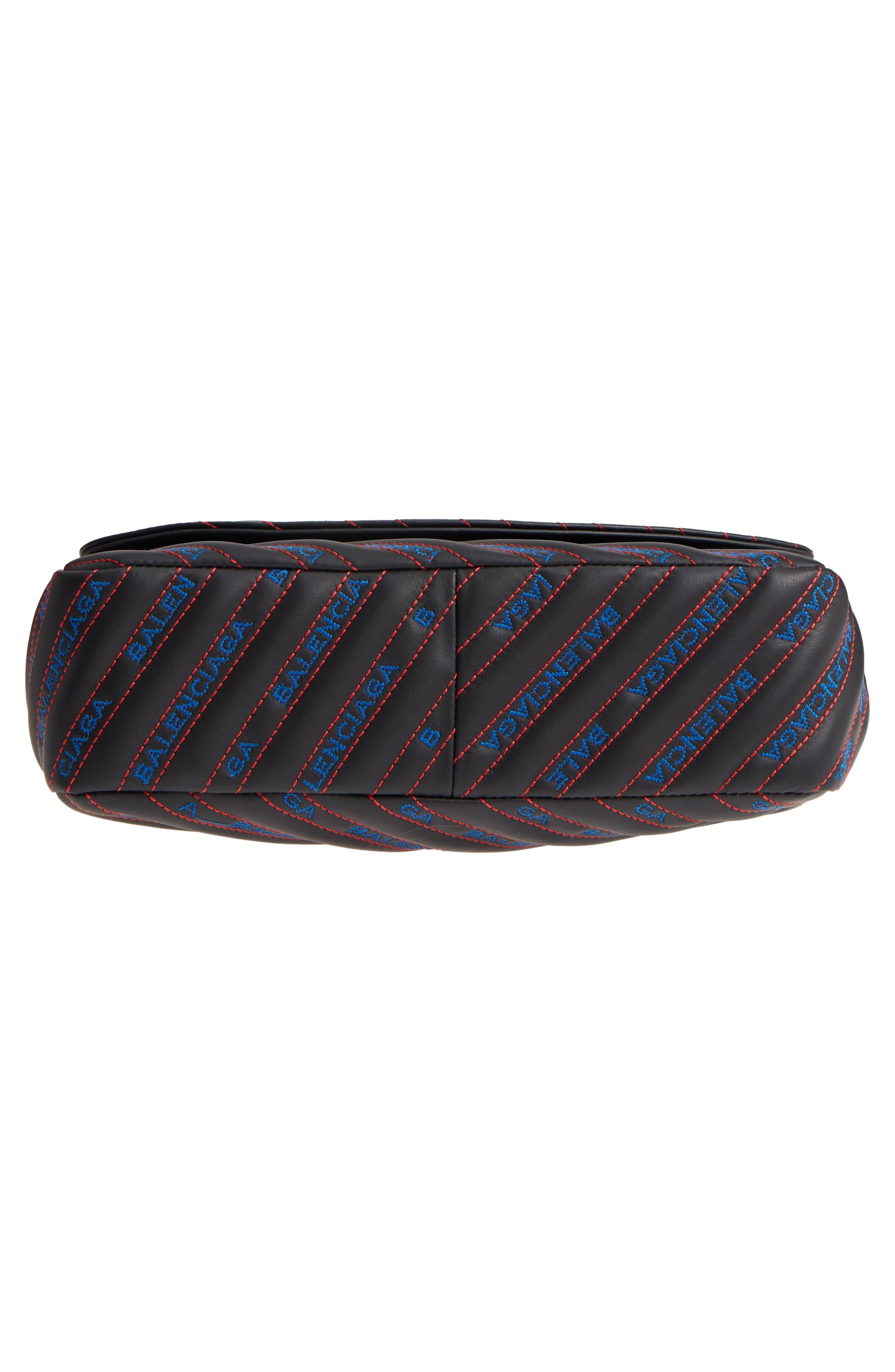 Medium BB Round Logo Charm Crossbody Bag,                             Alternate thumbnail 6, color,                             Noir/ Bleu/ Rouge