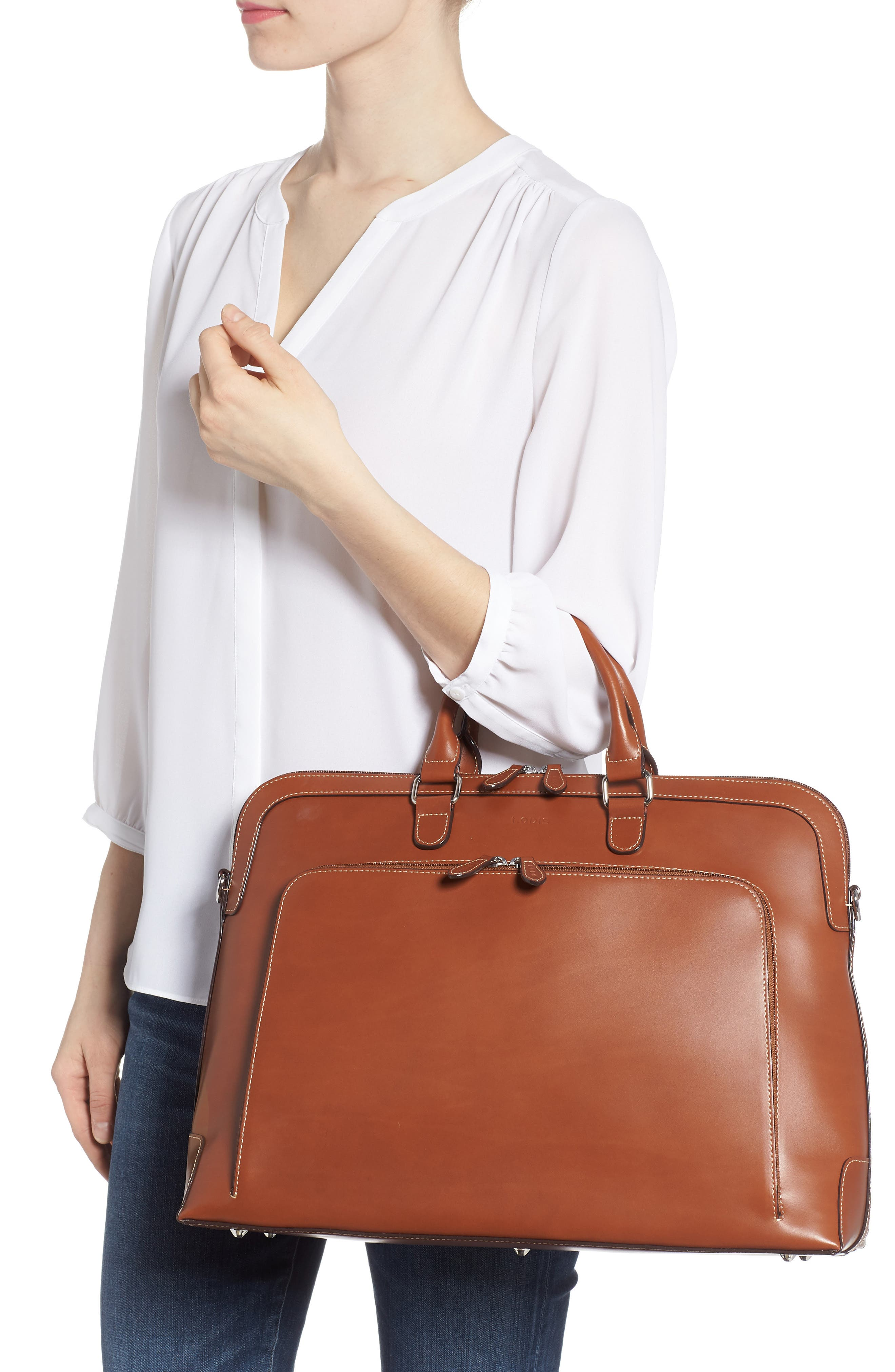 Audrey Under Lock & Key - Brera RFID Leather Briefcase,                             Alternate thumbnail 2, color,                             Sequoia/ Papaya