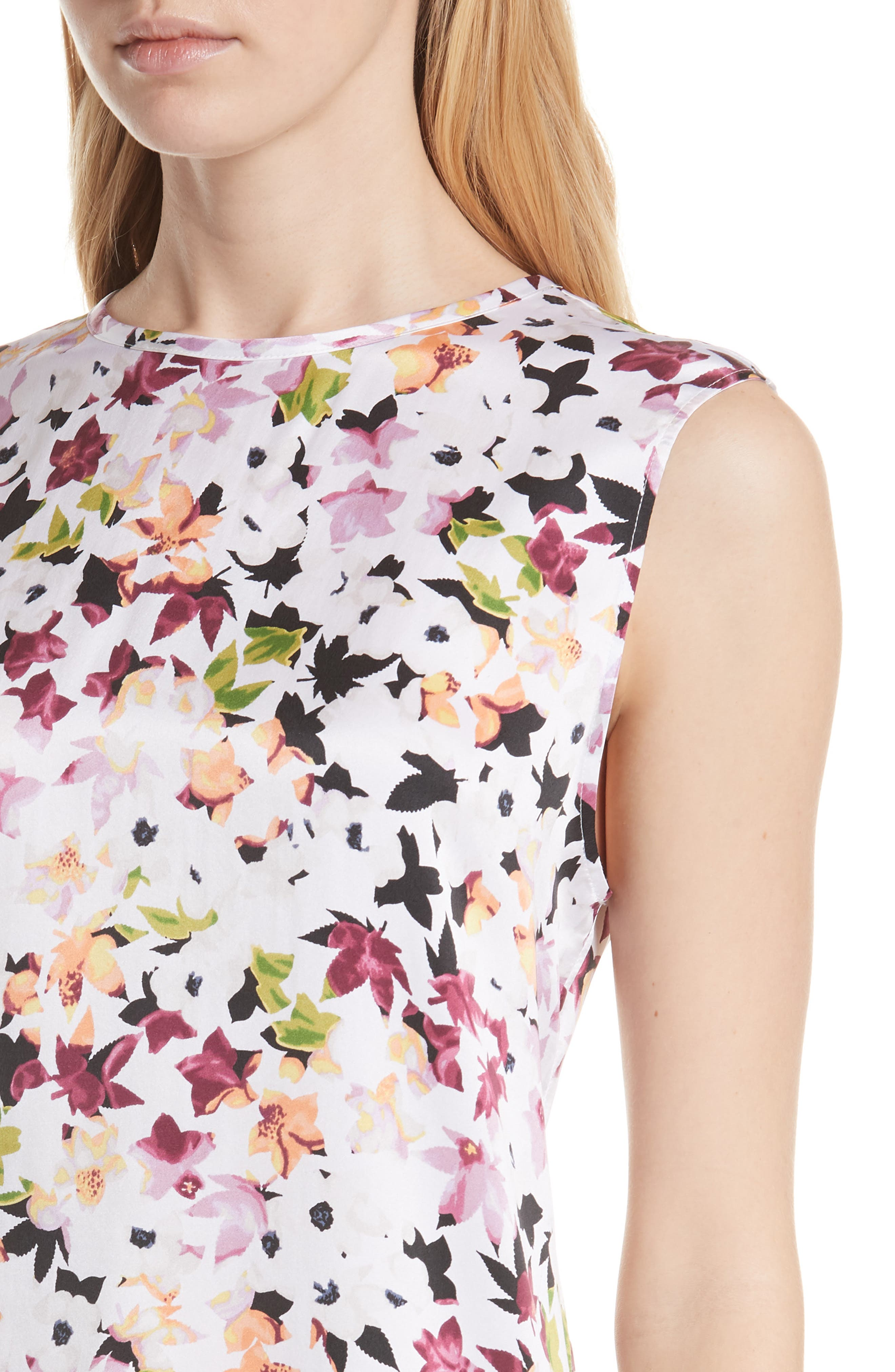 Layla Floral Silk Top,                             Alternate thumbnail 4, color,                             Bright White Multi