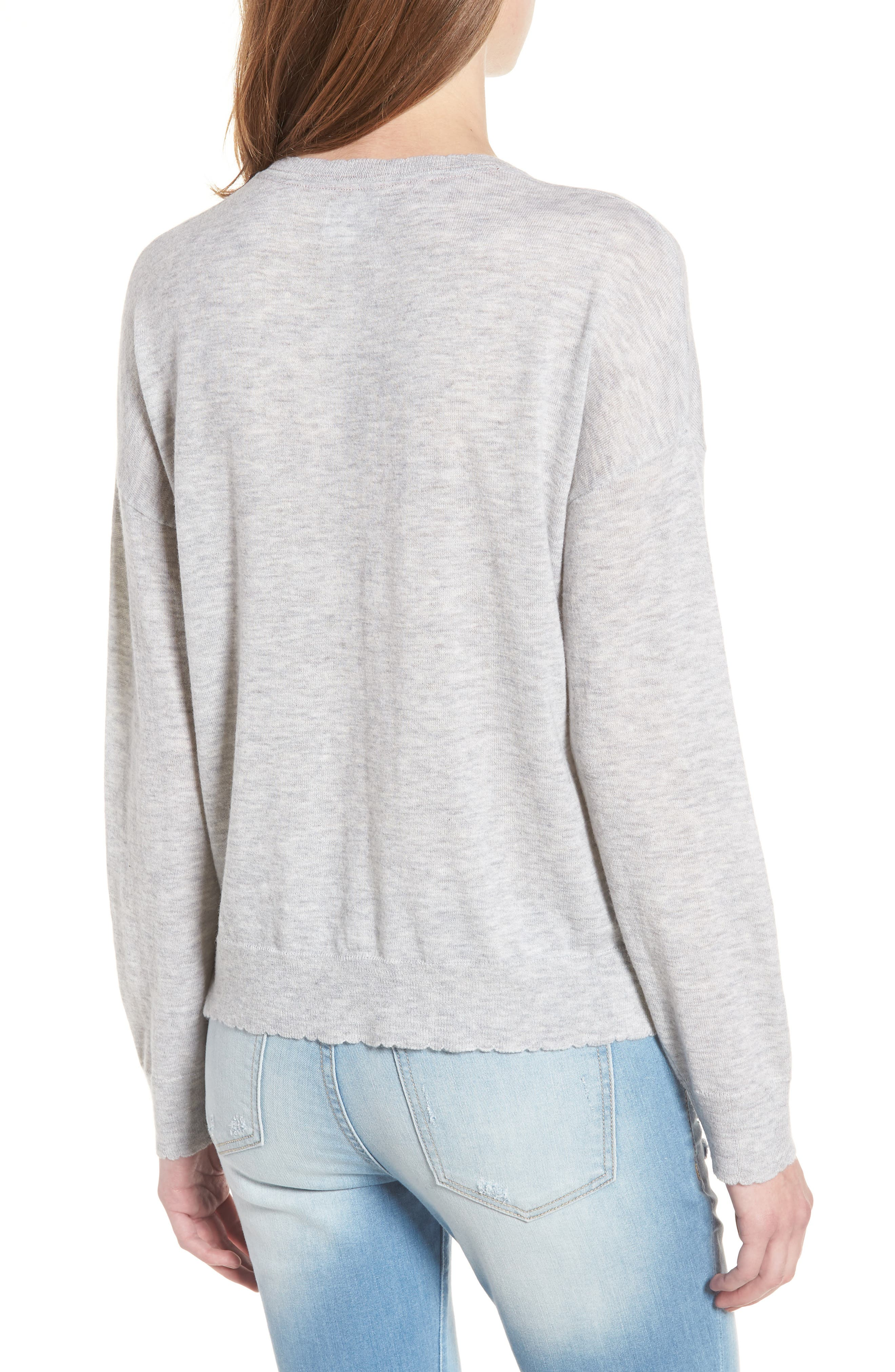 Amour Wool & Cashmere Sweater,                             Alternate thumbnail 2, color,                             Heather Grey