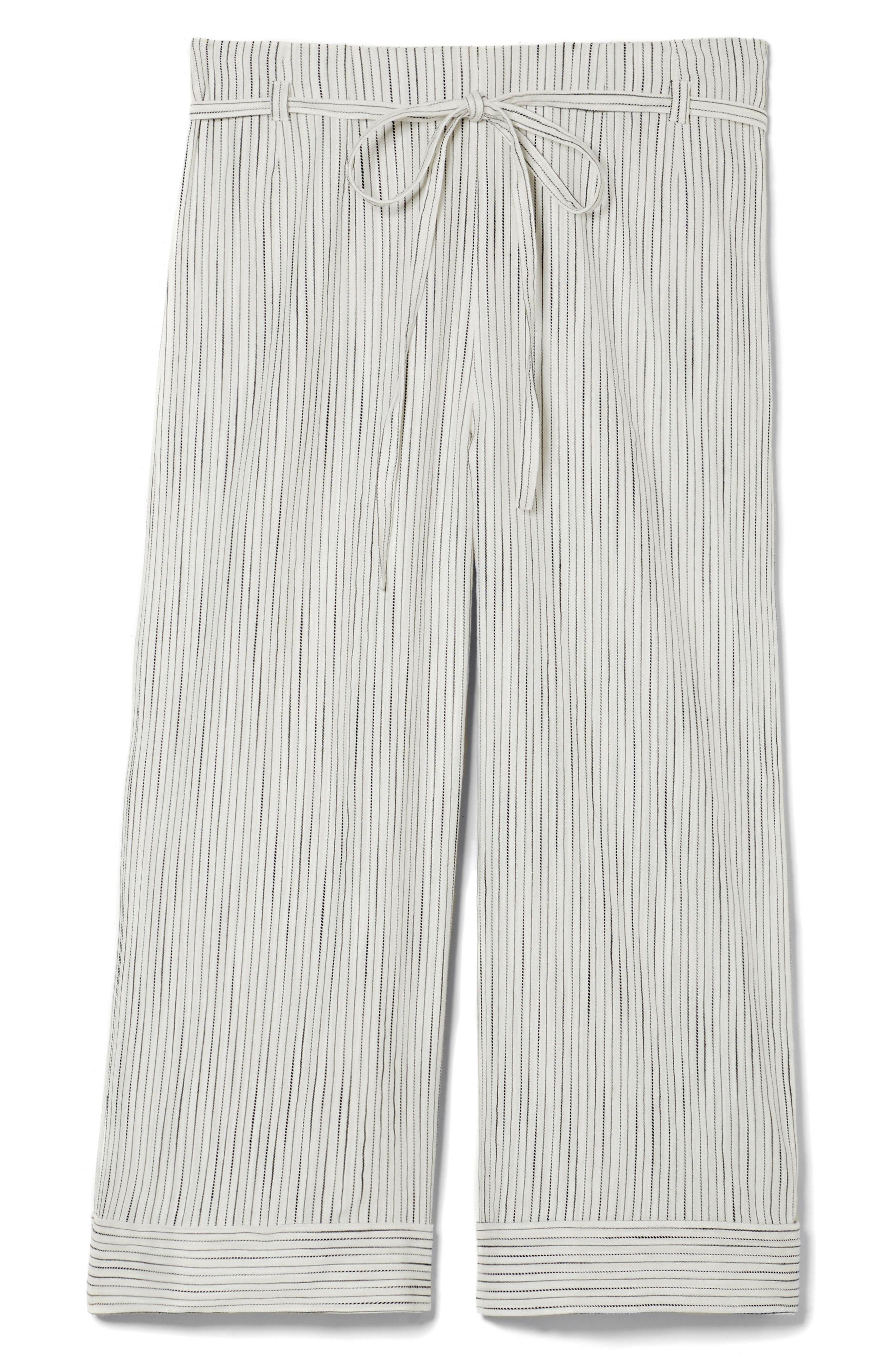 Tie Front Stripe Wide Leg Pants,                             Alternate thumbnail 3, color,                             Rich Black