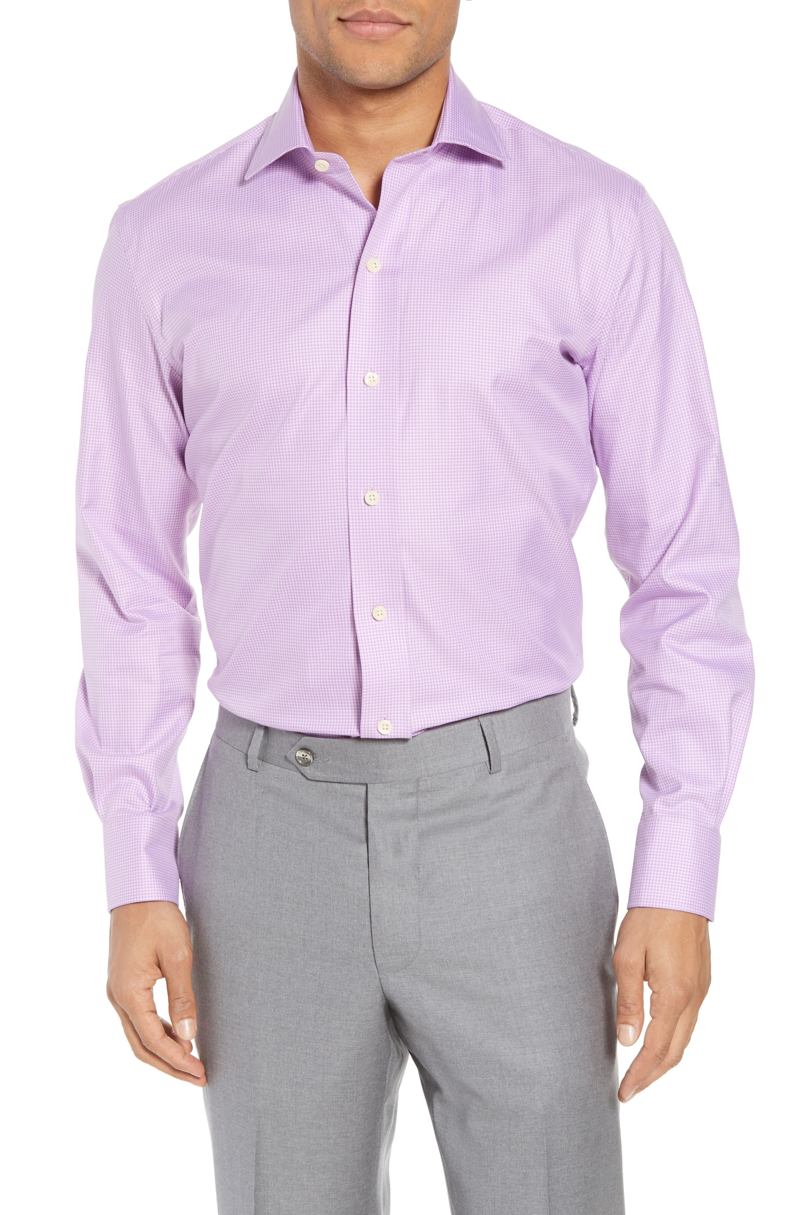 Innis Slim Fit Check Dress Shirt,                         Main,                         color, Lilac
