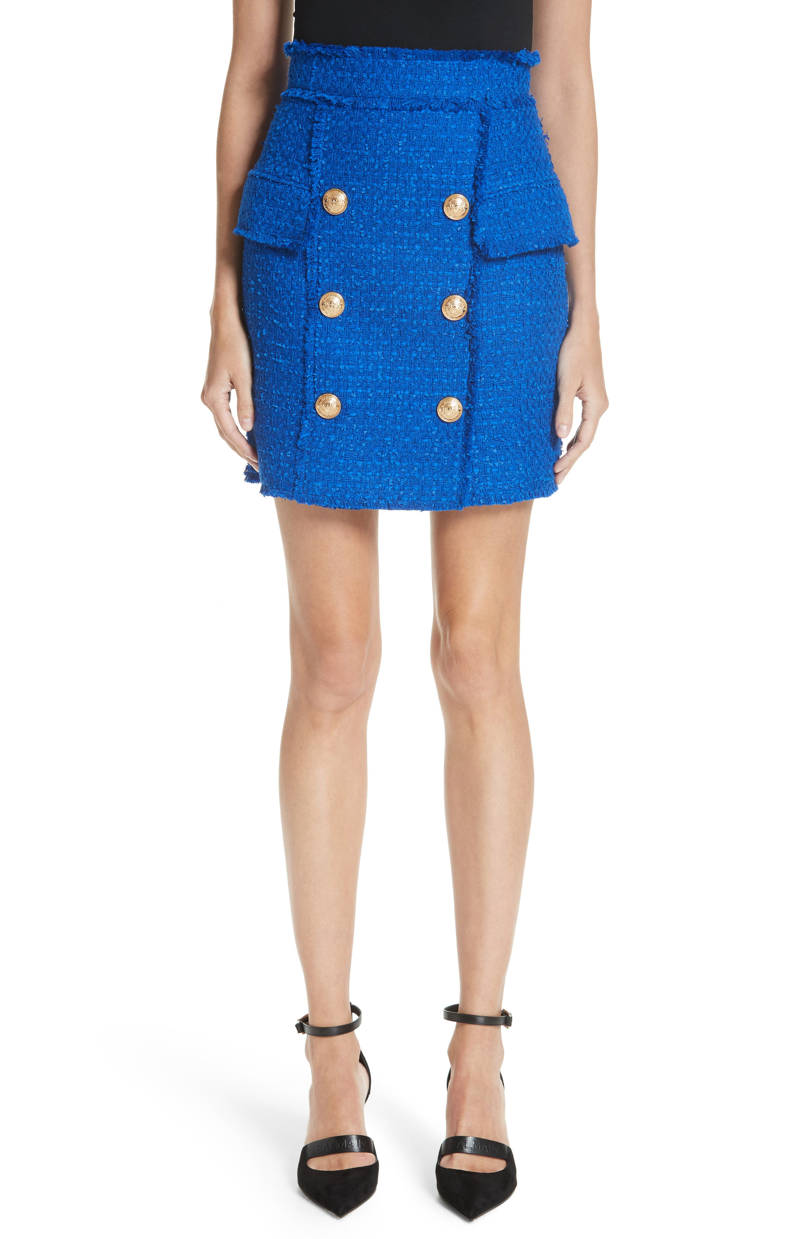 Button Detail Tweed Miniskirt,                             Main thumbnail 1, color,                             Electric Blue