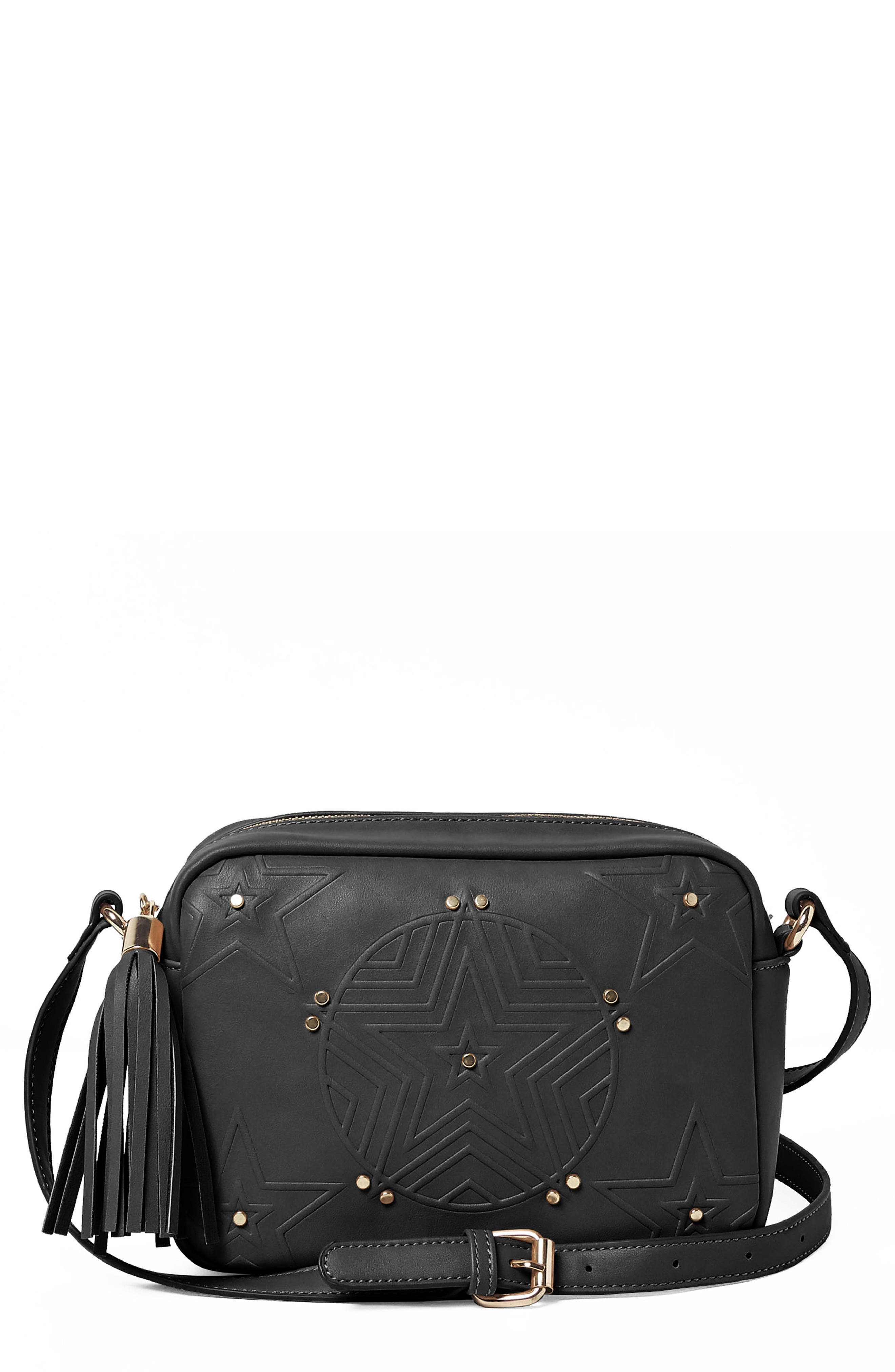 Stargazer Vegan Leather Crossbody Bag,                             Main thumbnail 1, color,                             Black