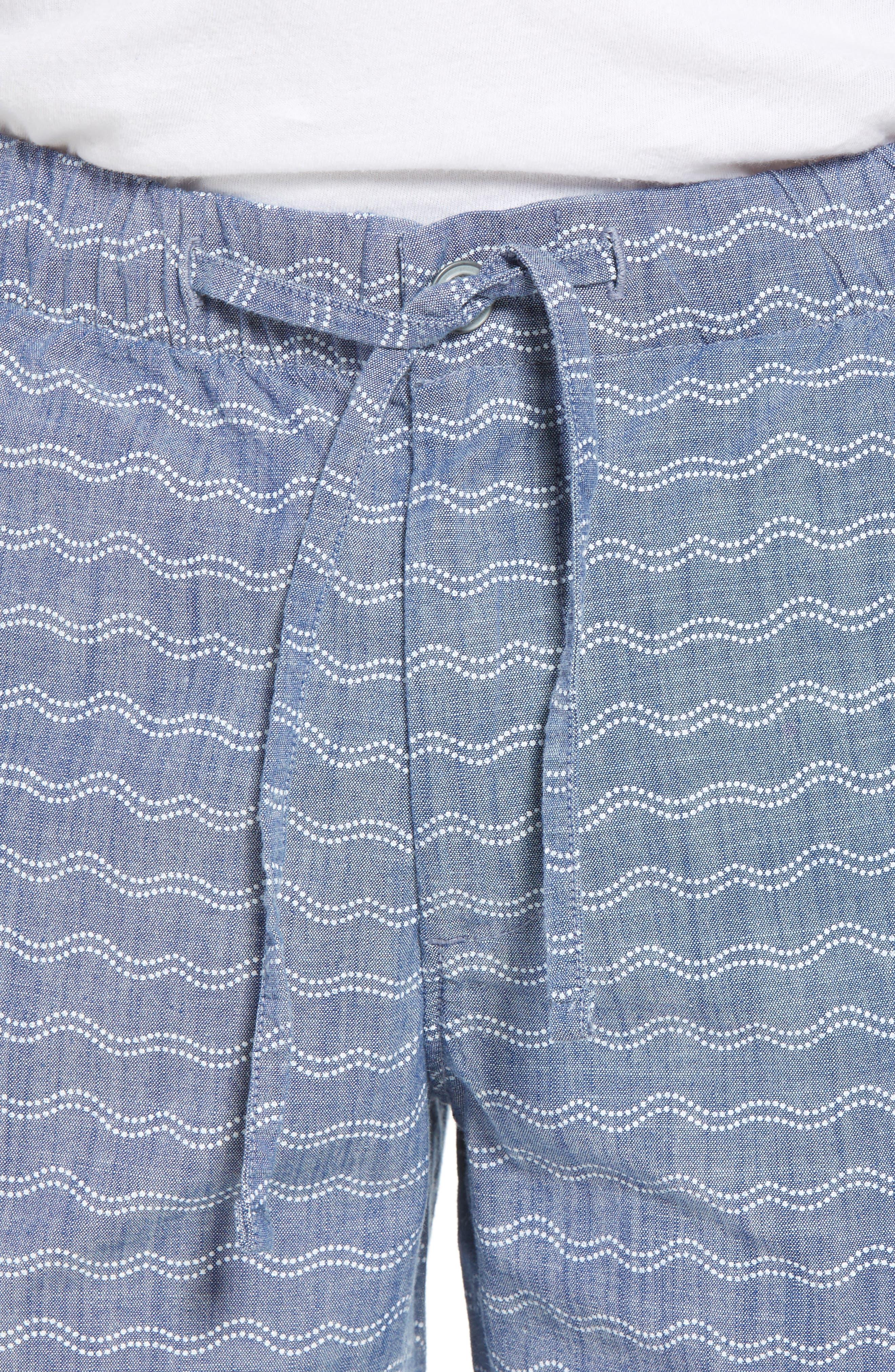 Print Beach Shorts,                             Alternate thumbnail 4, color,                             Wave Dot Chambray