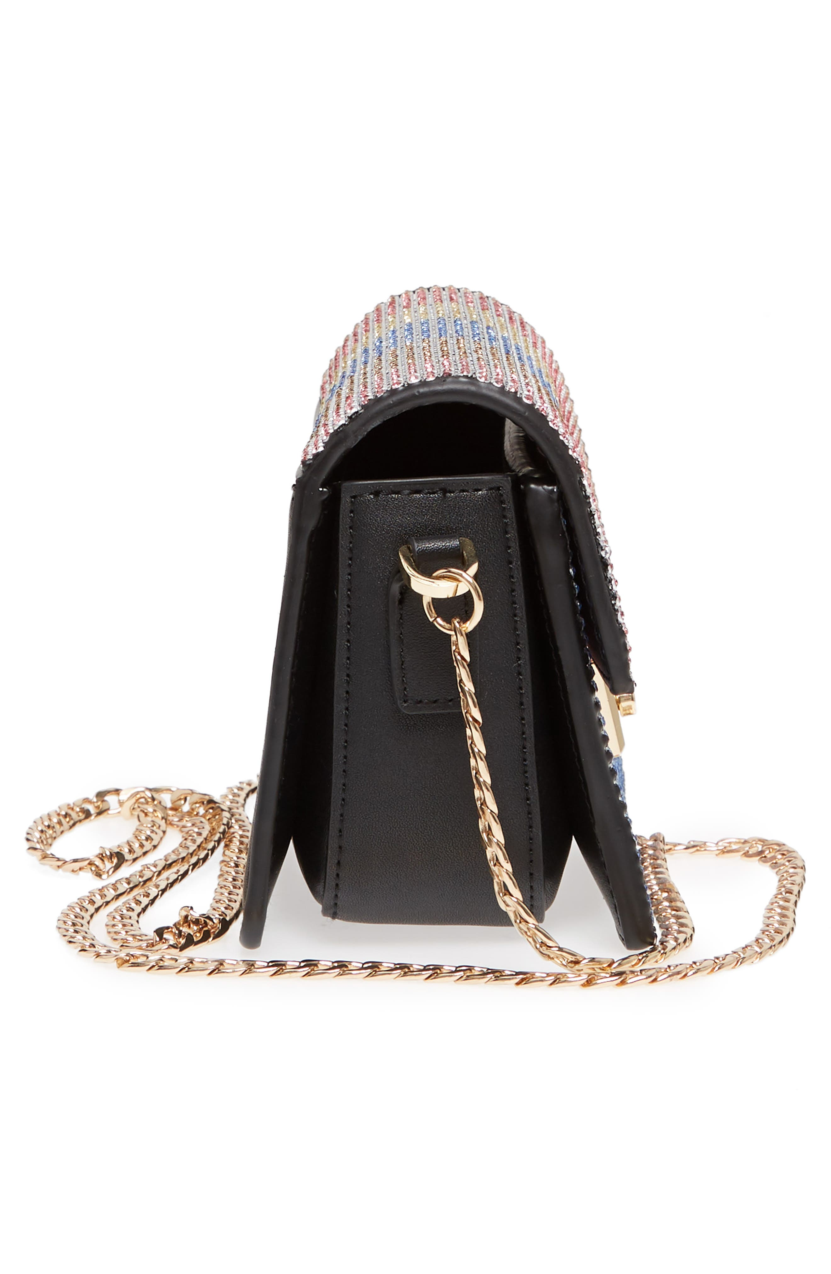 Rosie Diamante Rainbow Crossbody Bag,                             Alternate thumbnail 5, color,                             Black Multi