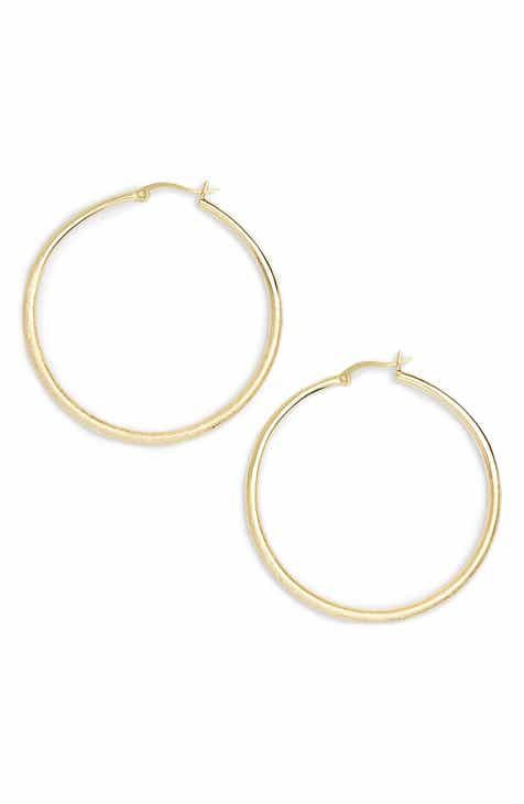 Halogen Fine Texture Medium Hoop Earrings
