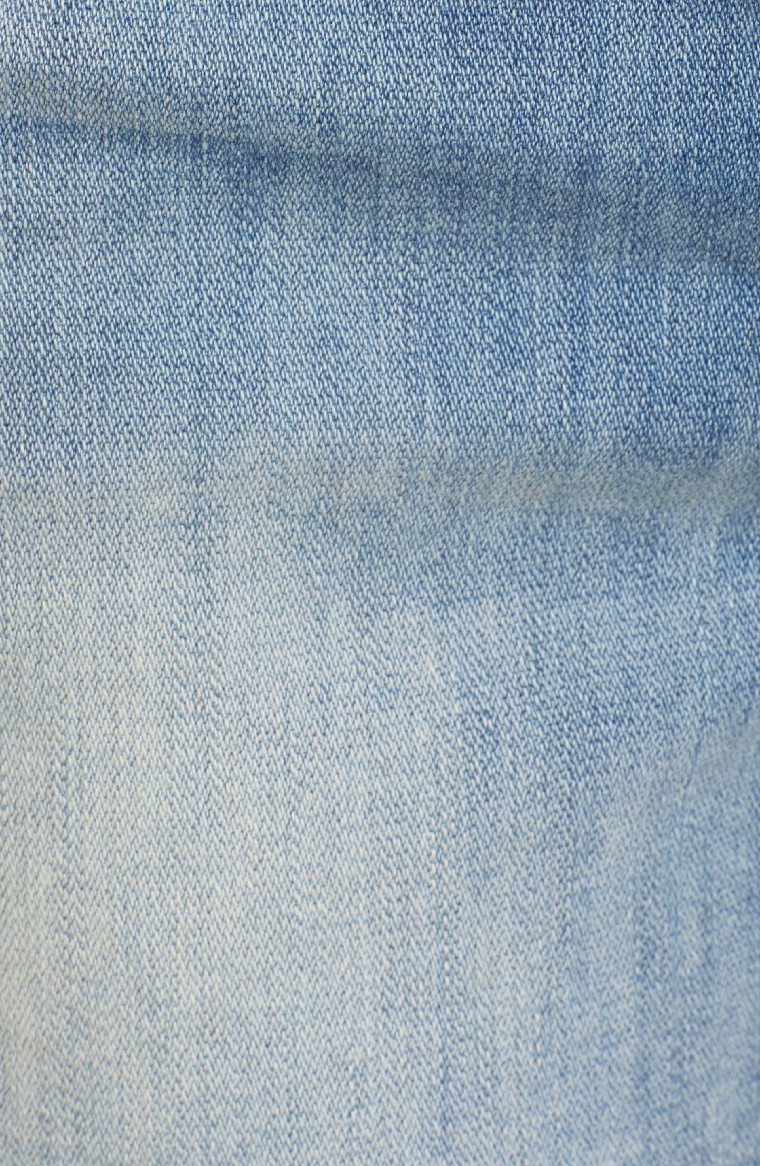 Fray Outseam Denim Shorts,                             Alternate thumbnail 6, color,                             Medium Wash