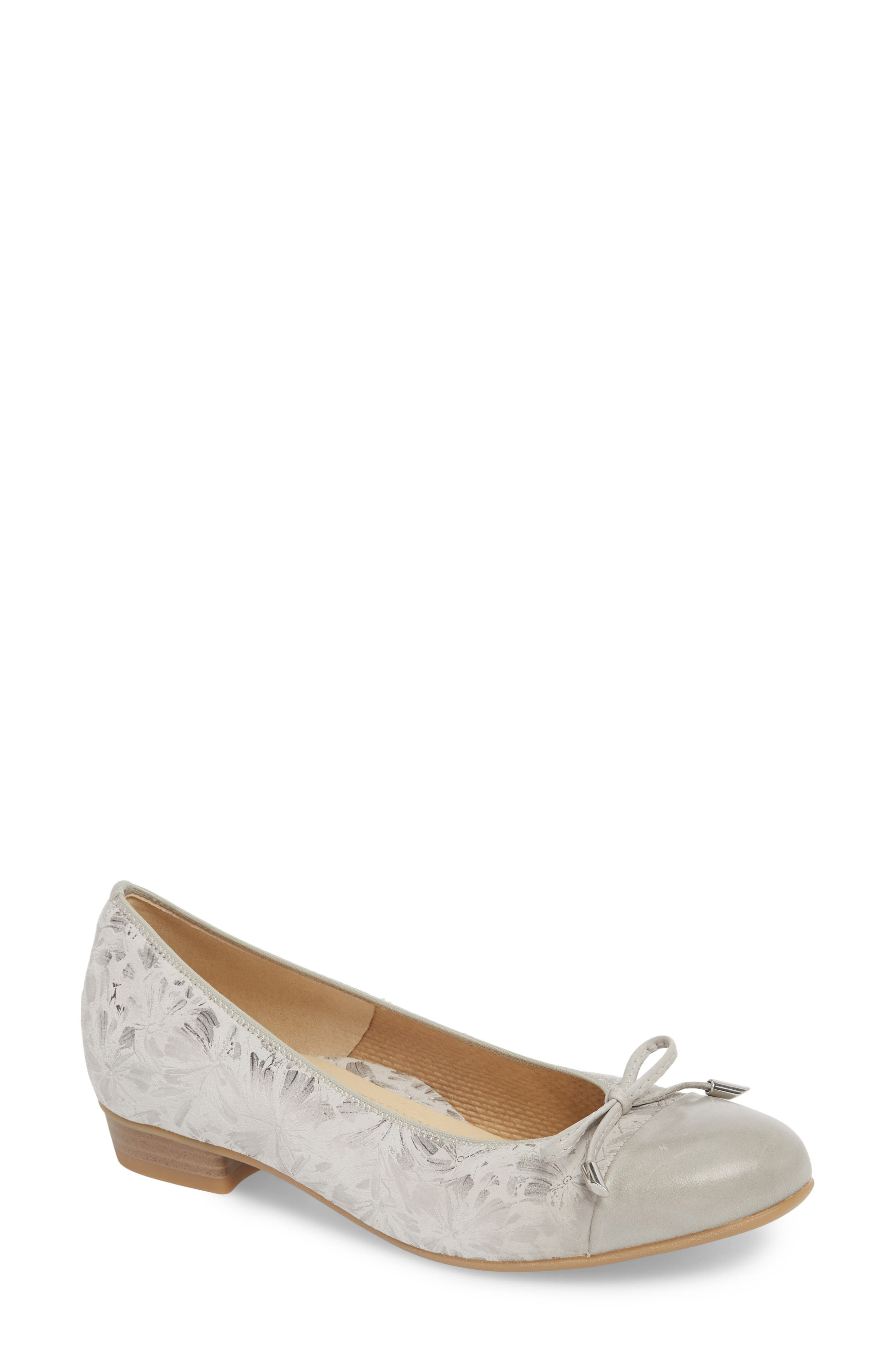 'Betty' Cap Toe Flat,                         Main,                         color, Silver Leather