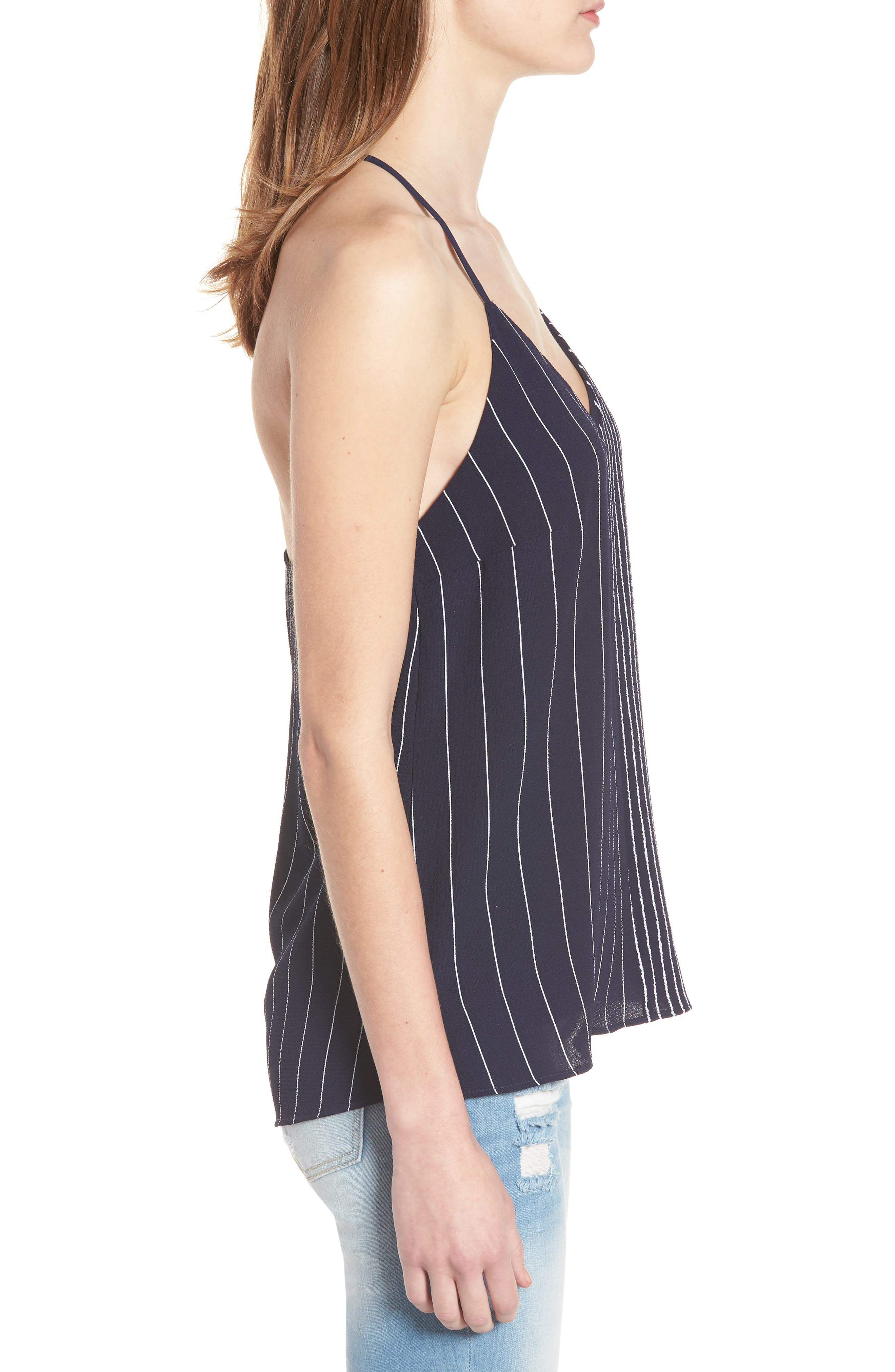Mix Stripe Camisole,                             Alternate thumbnail 3, color,                             Navy/ White