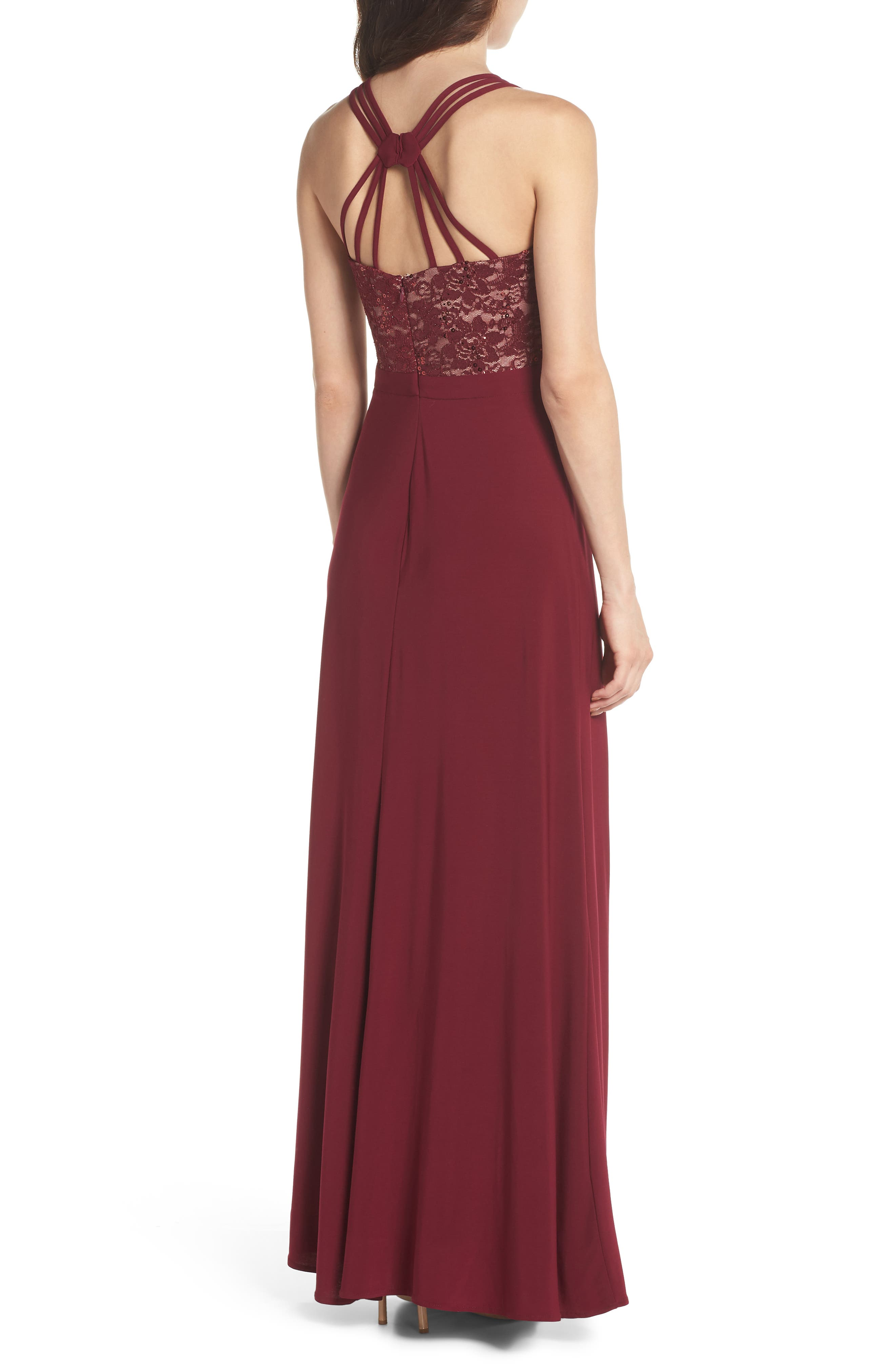 Embellished Lace Gown,                             Alternate thumbnail 2, color,                             Merlot/ Nude