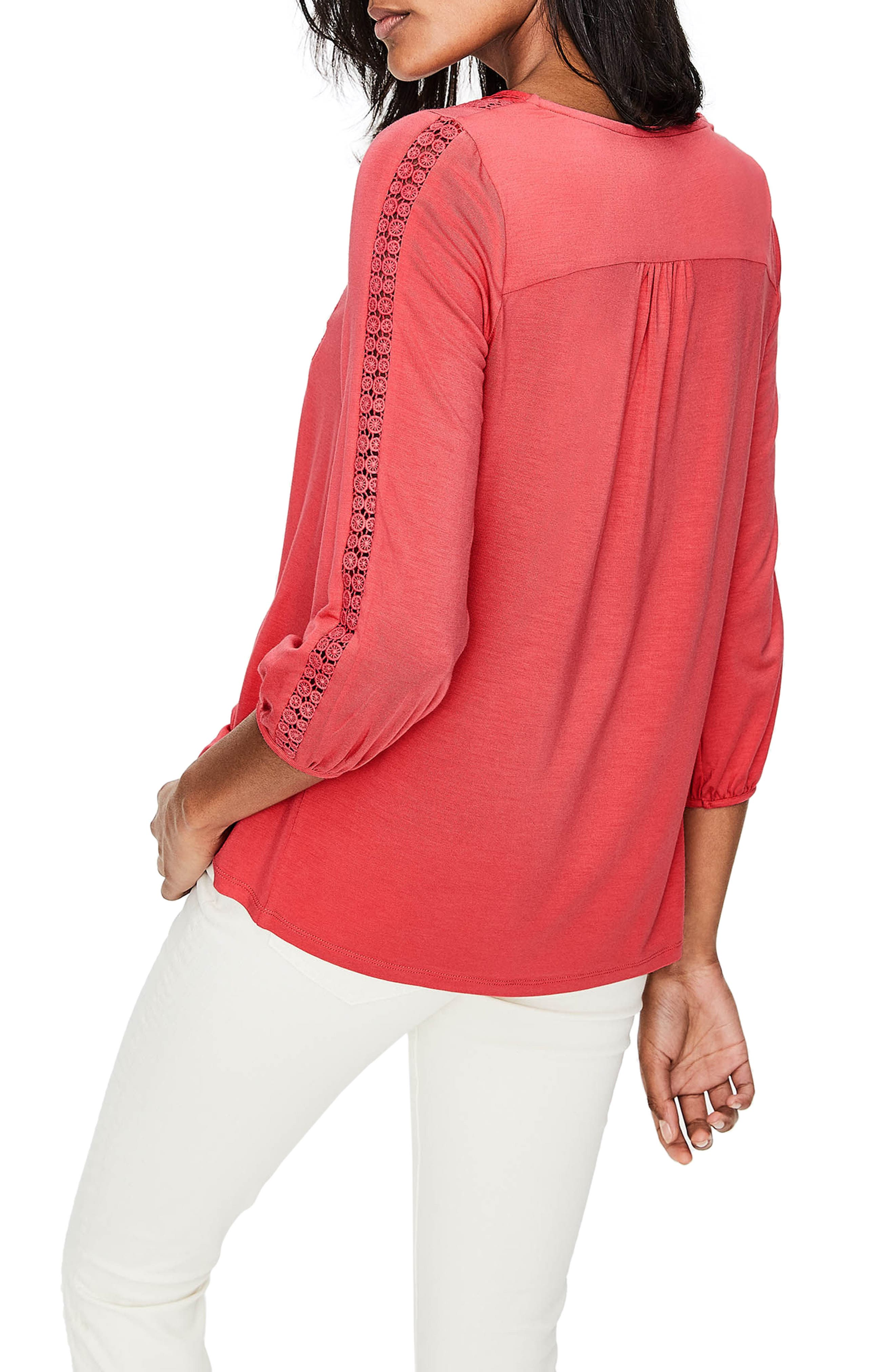 Mixed Textures Peasant Top,                             Alternate thumbnail 2, color,                             Coral Sunset