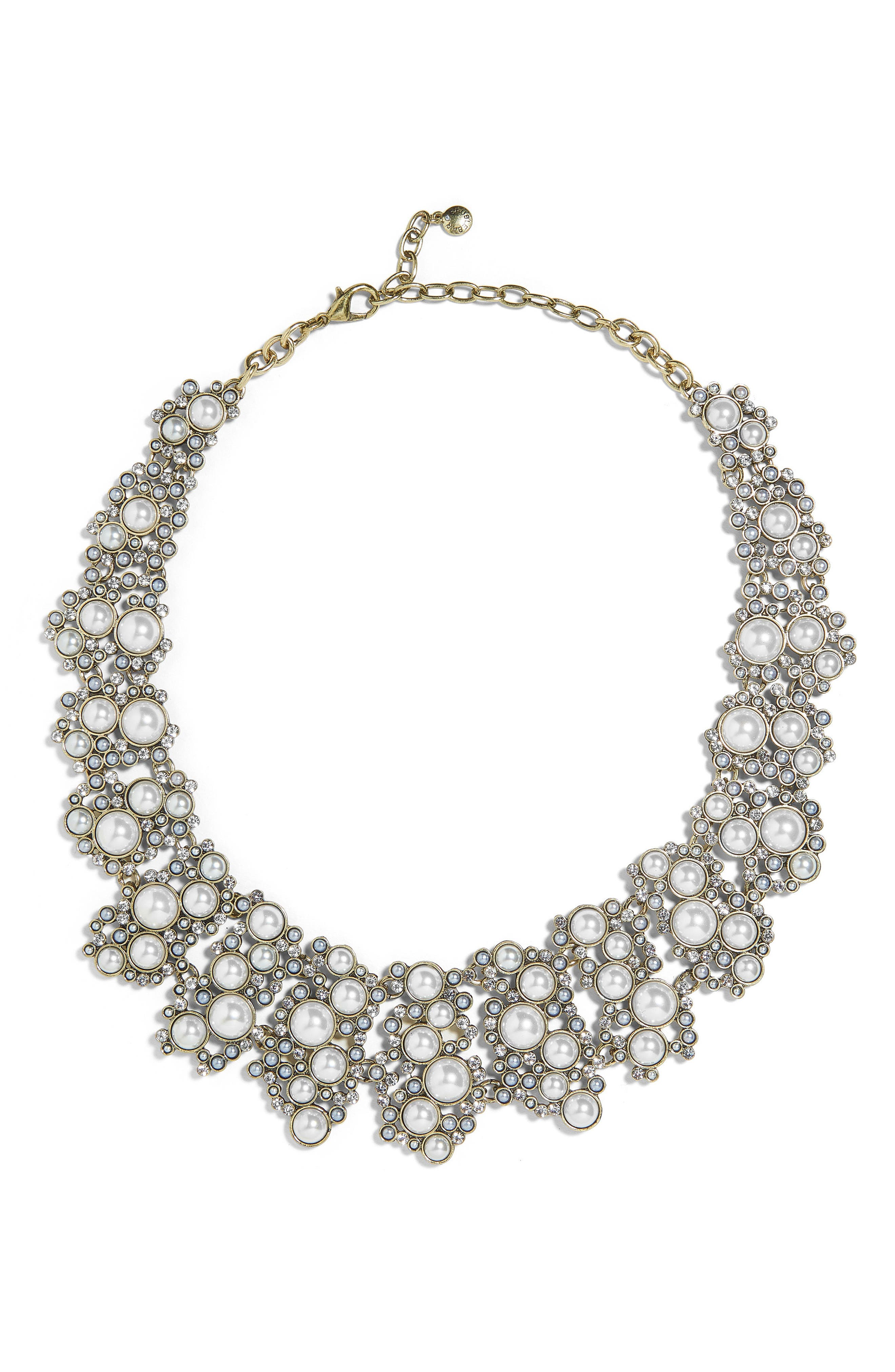 Julianna Statement Collar Necklace,                             Main thumbnail 1, color,                             White