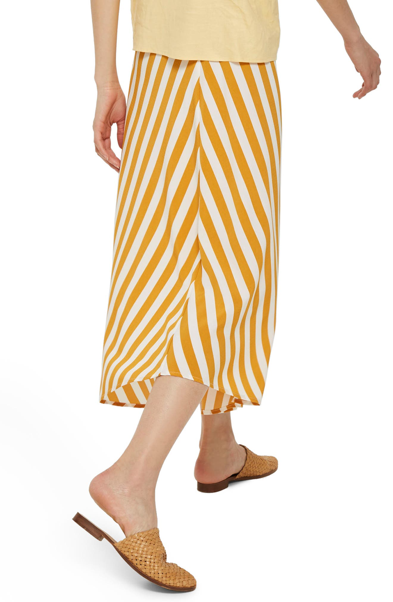 Humbug Button Handkerchief Hem Midi Skirt,                             Alternate thumbnail 3, color,                             Mustard Multi