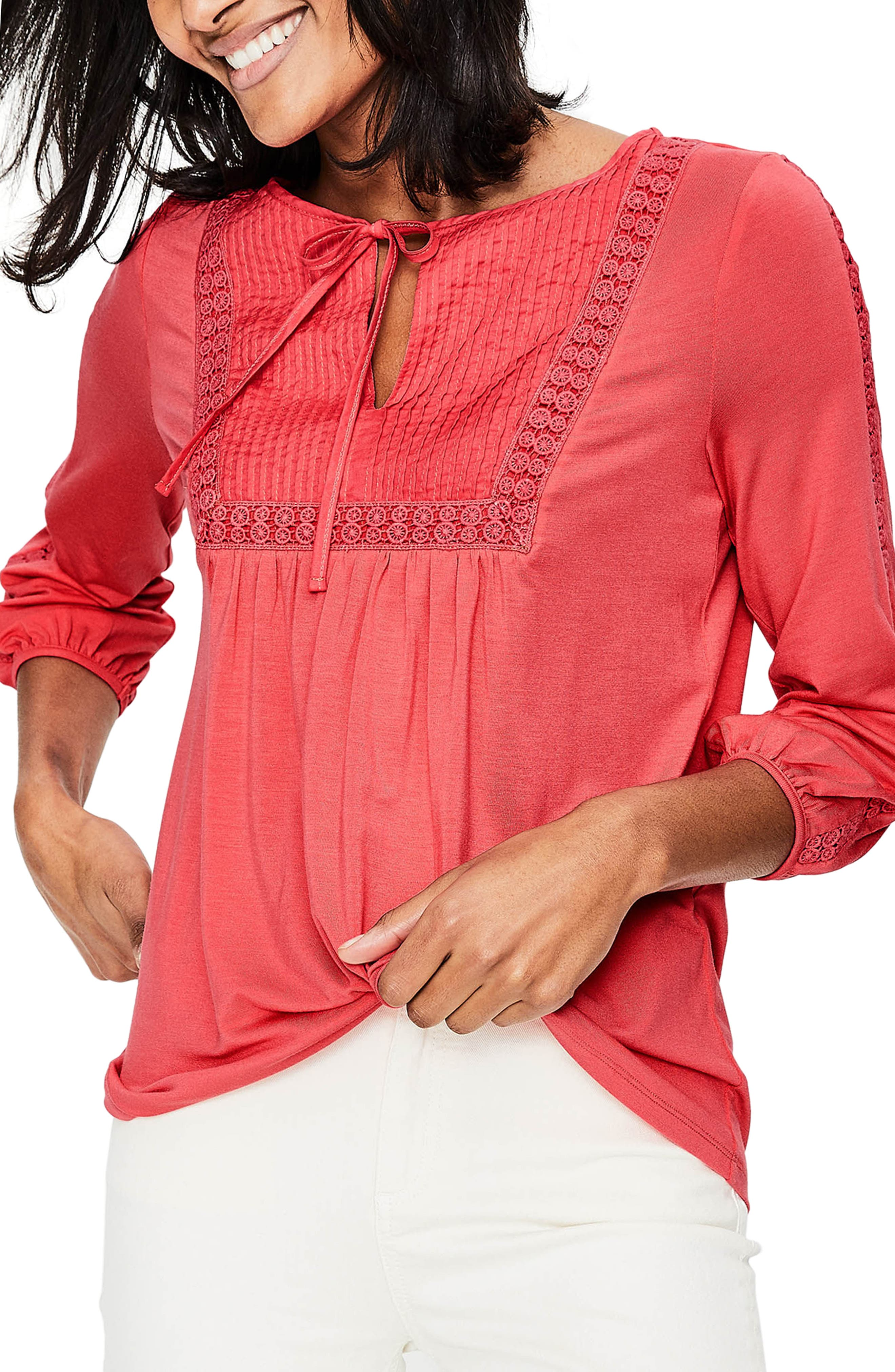 Mixed Textures Peasant Top,                         Main,                         color, Coral Sunset