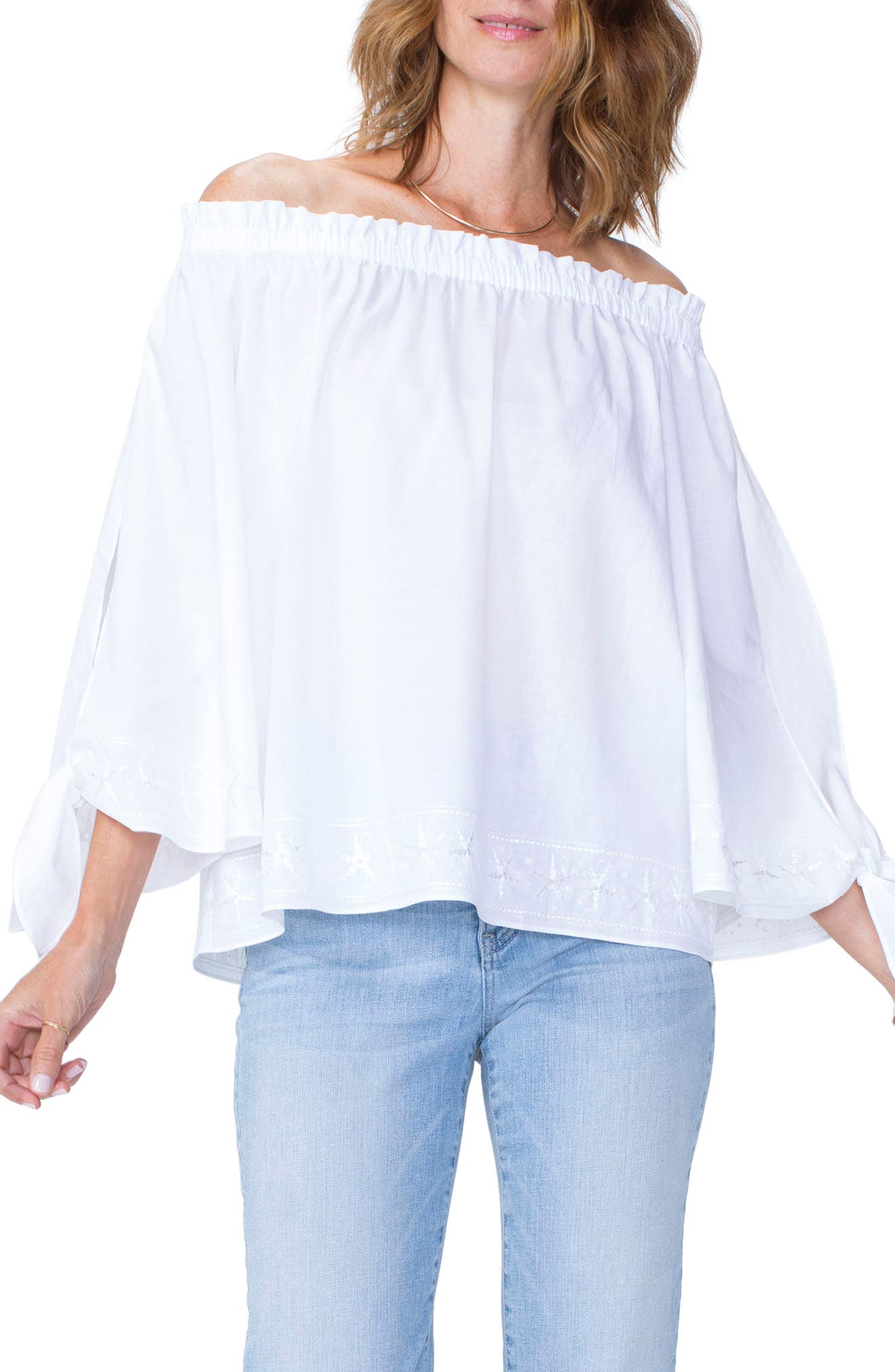 Tie Sleeve Off the Shoulder Top,                         Main,                         color, Optic White