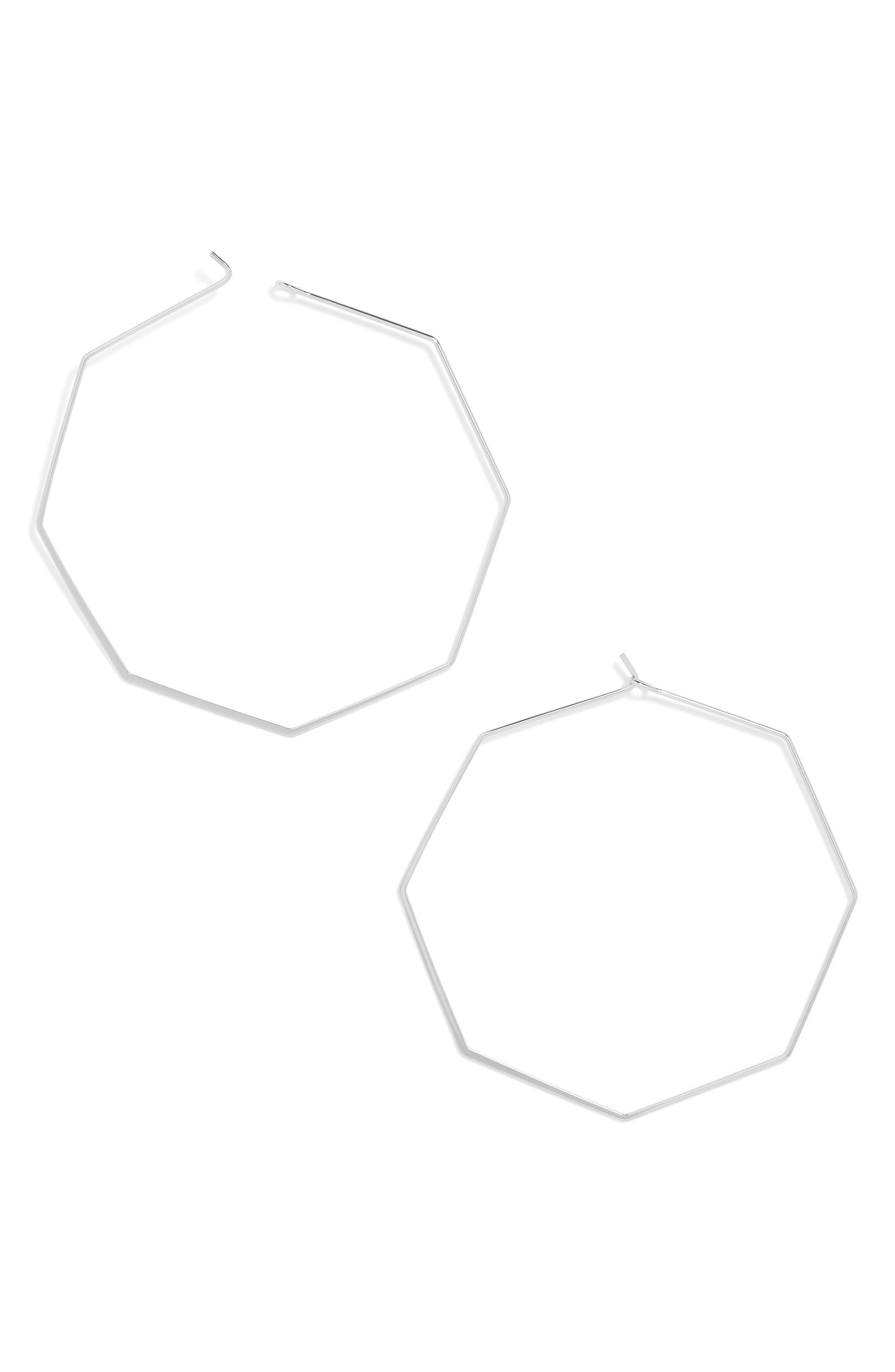 Cassandra Hoop Earrings,                             Main thumbnail 1, color,                             Silver