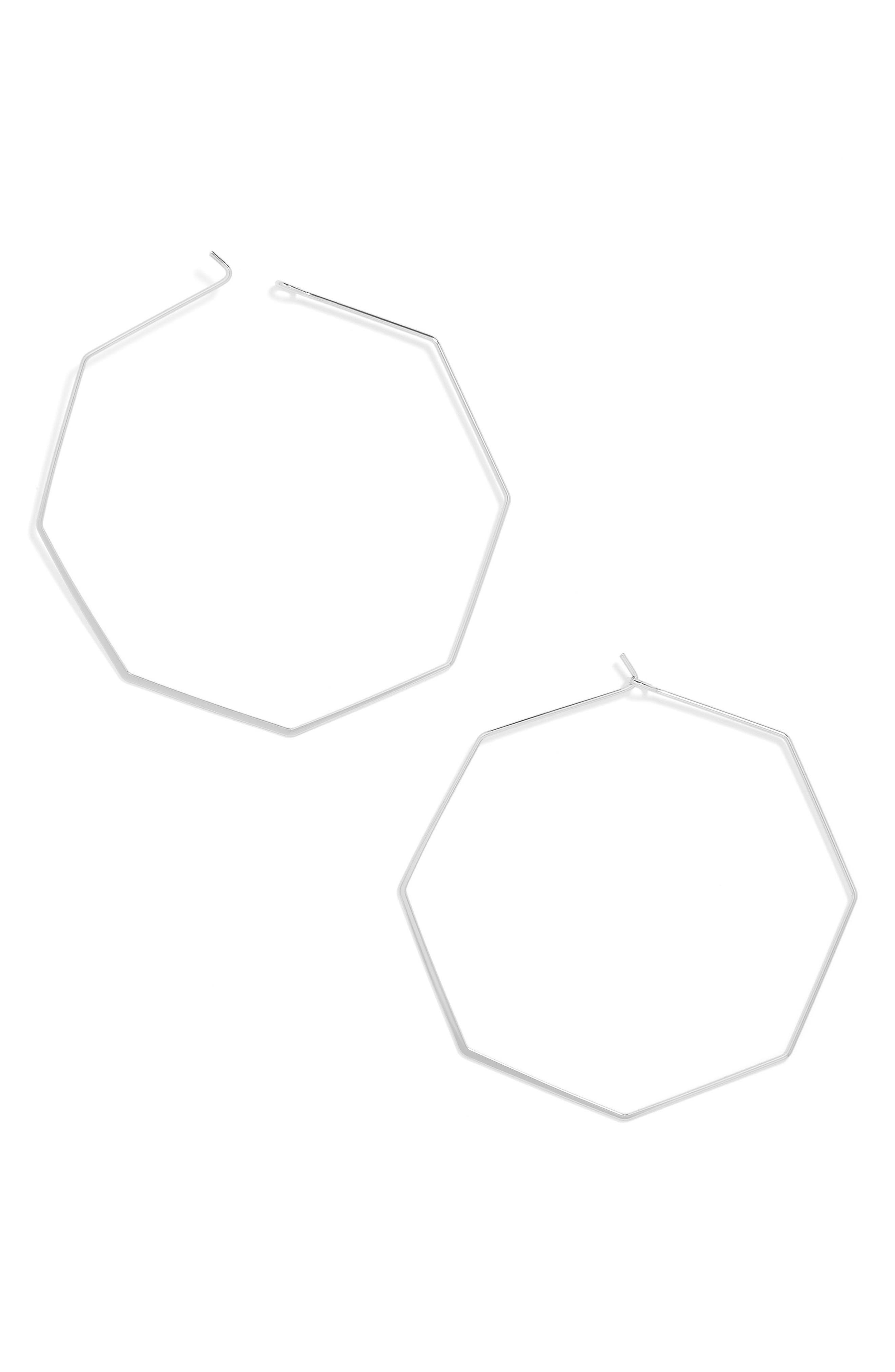 Cassandra Hoop Earrings,                         Main,                         color, Silver