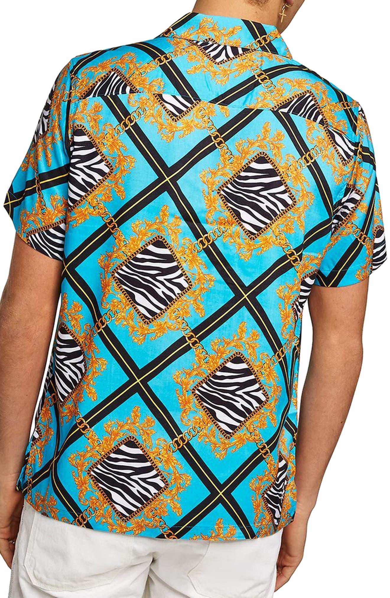 Baroque Zebra Print Shirt,                             Alternate thumbnail 3, color,                             Blue