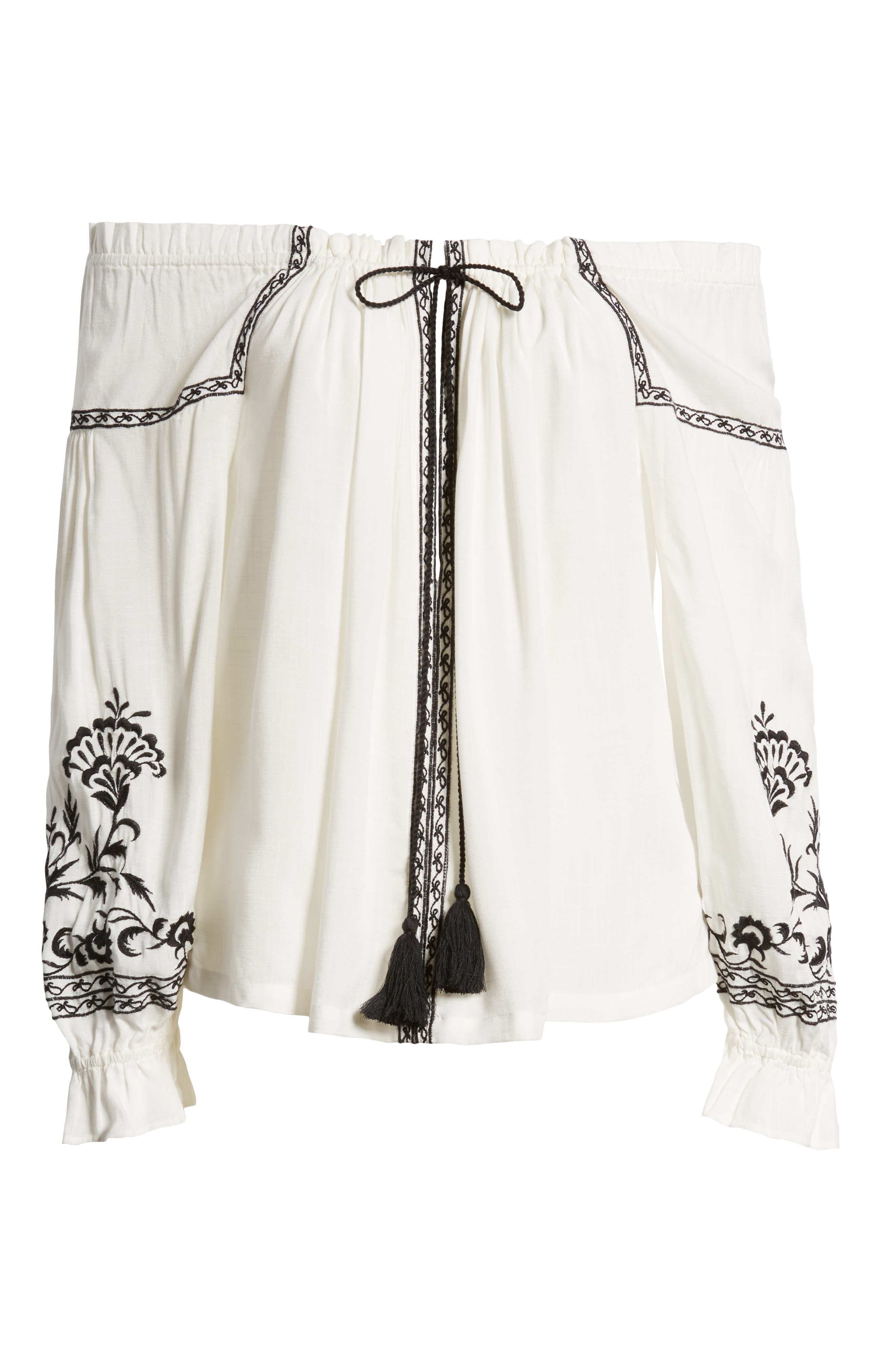 Embroidered Peasant Top,                             Alternate thumbnail 7, color,                             White Multi