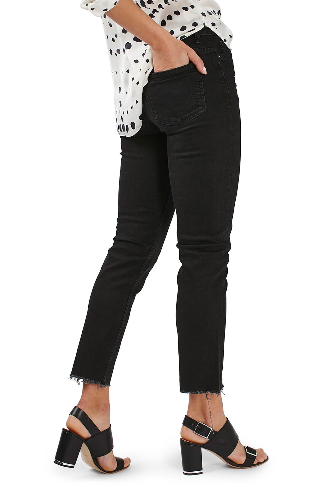 Raw Hem Straight Leg Jeans,                             Alternate thumbnail 3, color,                             Washed Black