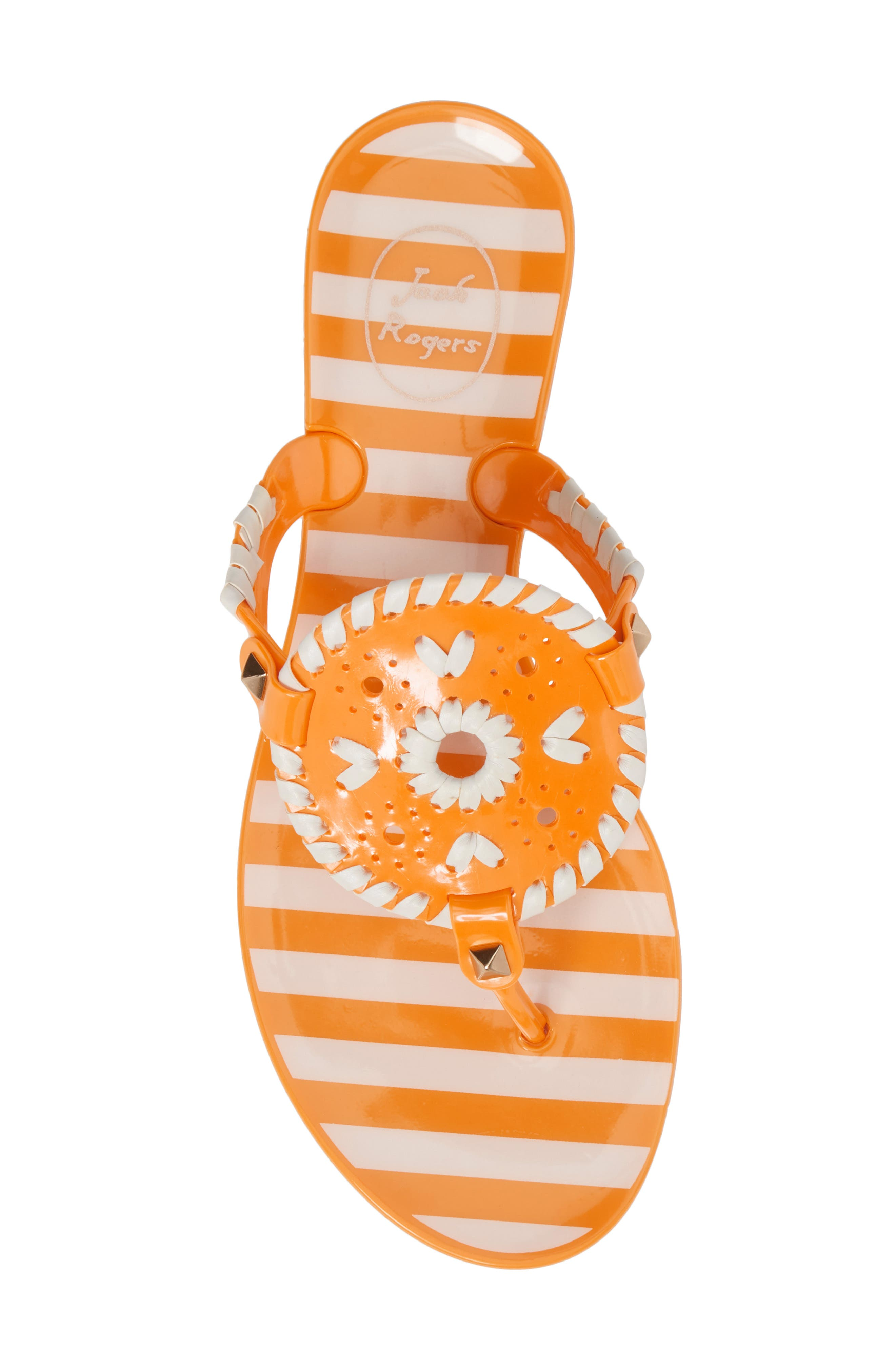 'Georgica' Jelly Flip Flop,                             Alternate thumbnail 5, color,                             Tangerine/ White Fabric