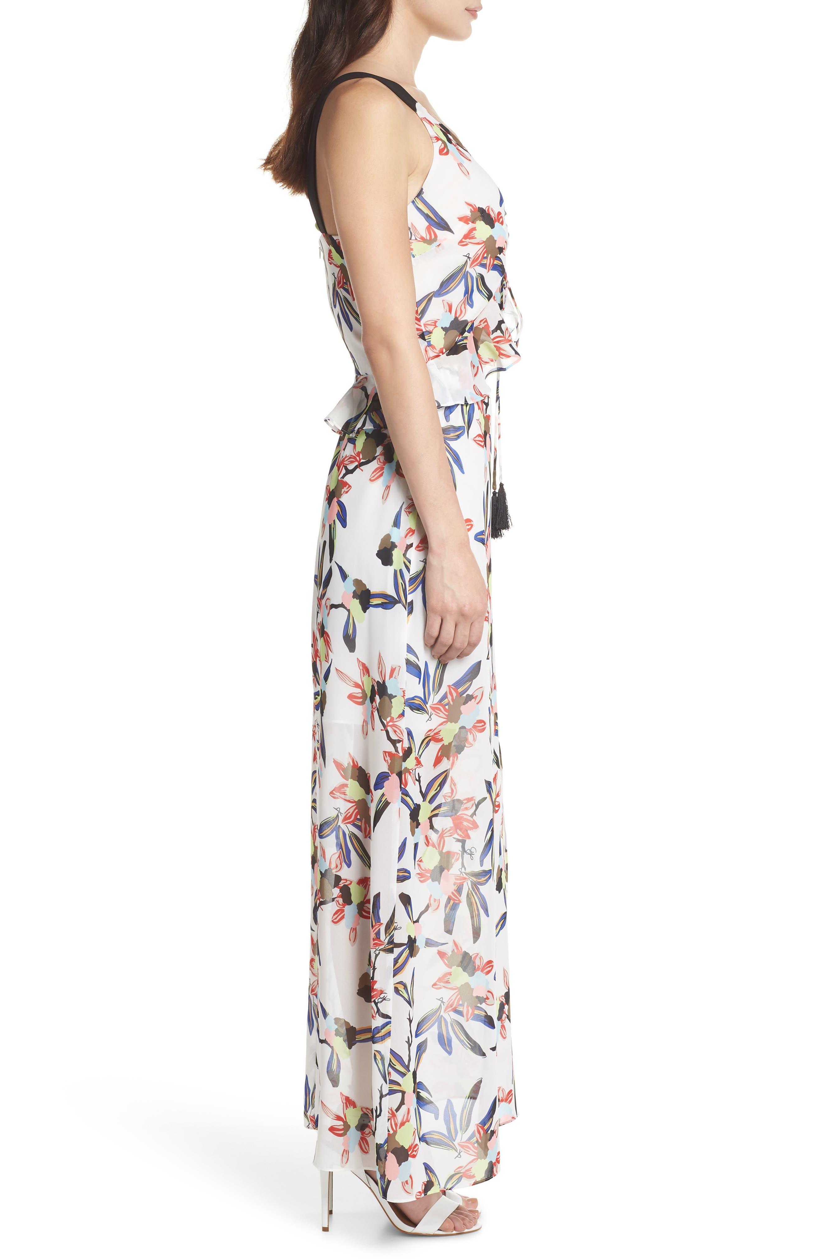 Floral Print Maxi Dress,                             Alternate thumbnail 3, color,                             White Multi