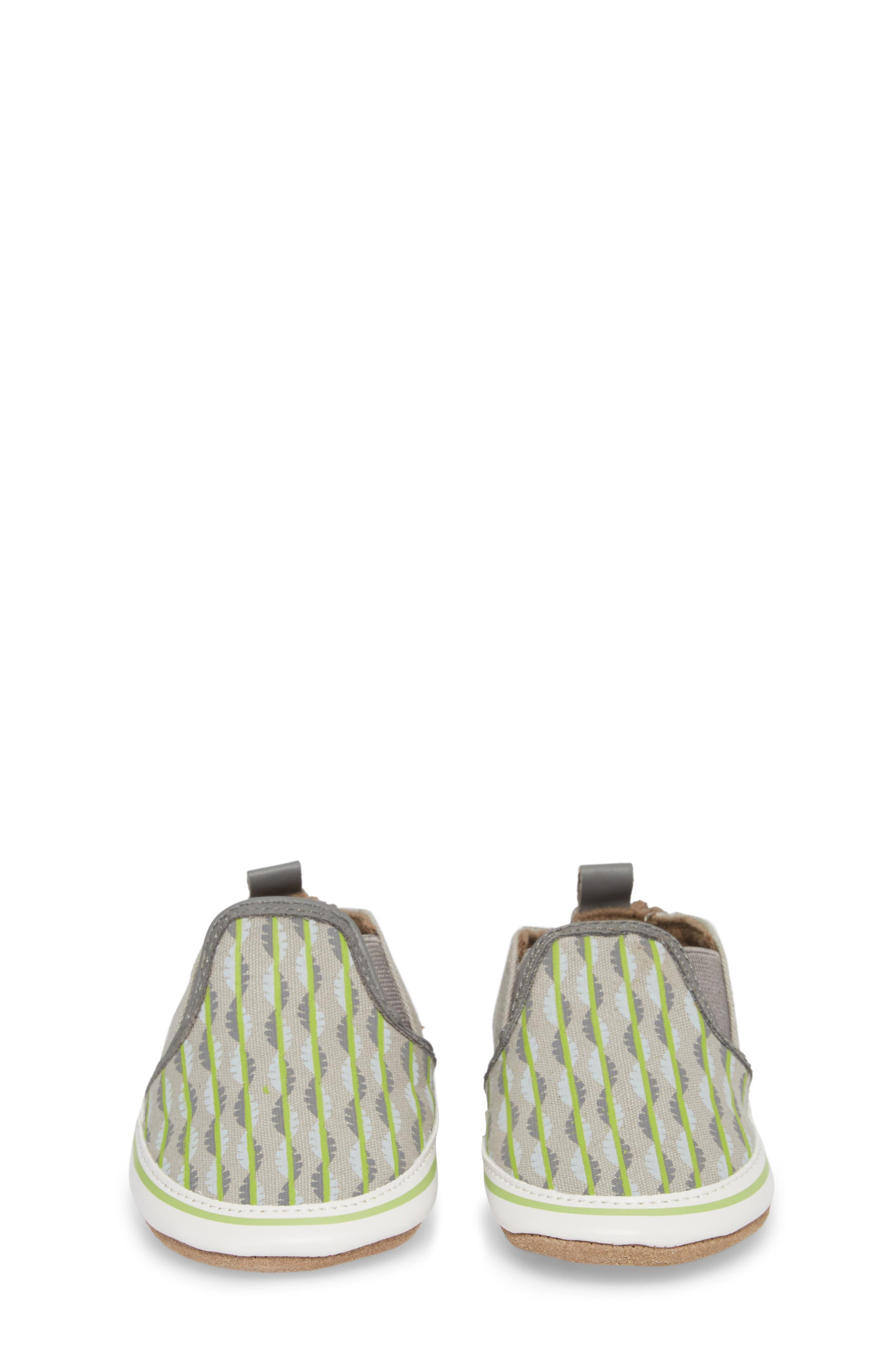 Liam Tropical Print Crib Shoe,                             Alternate thumbnail 5, color,                             Grey