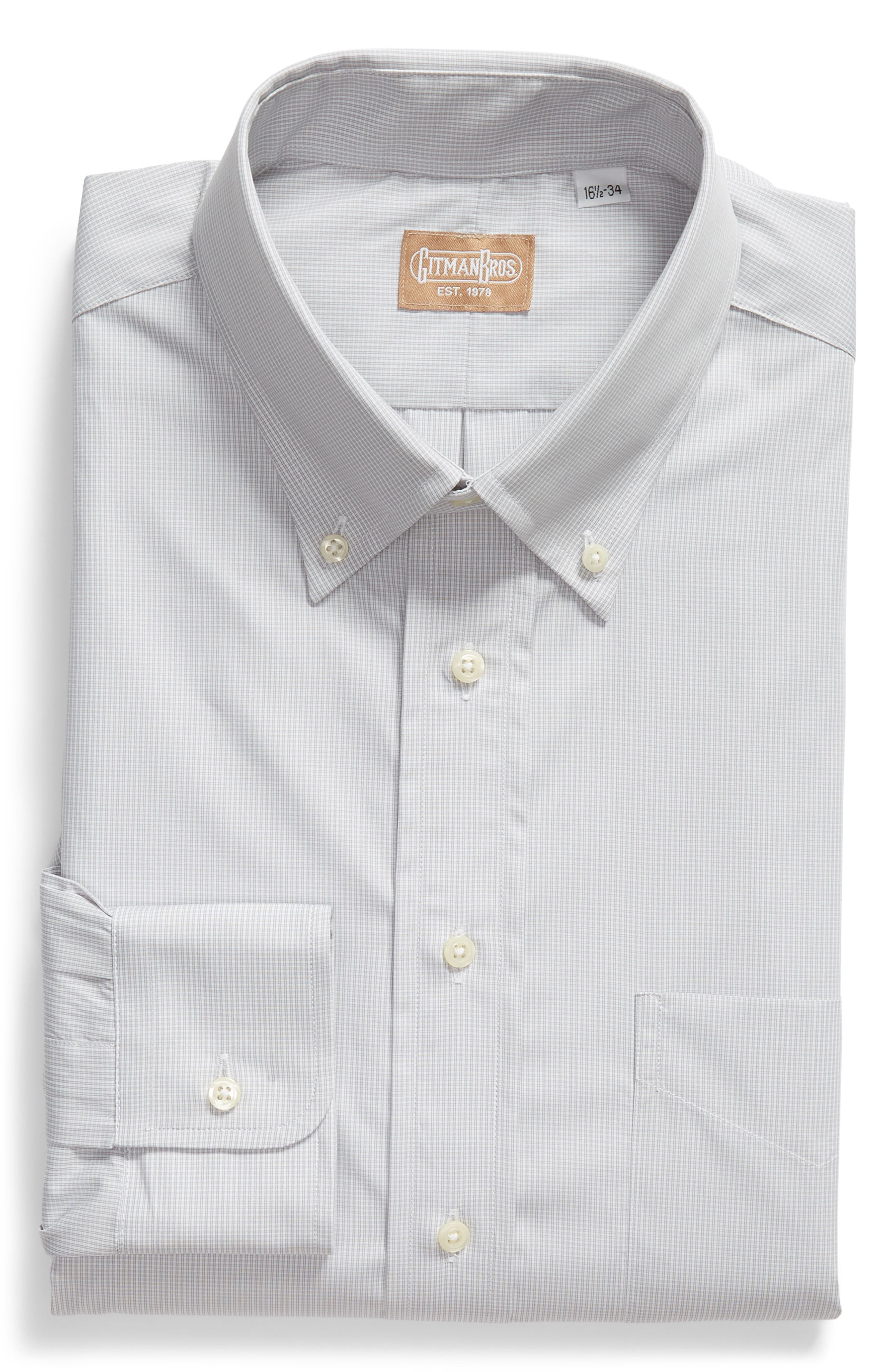Tailored Fit Check Dress Shirt,                             Alternate thumbnail 5, color,                             Charcoal