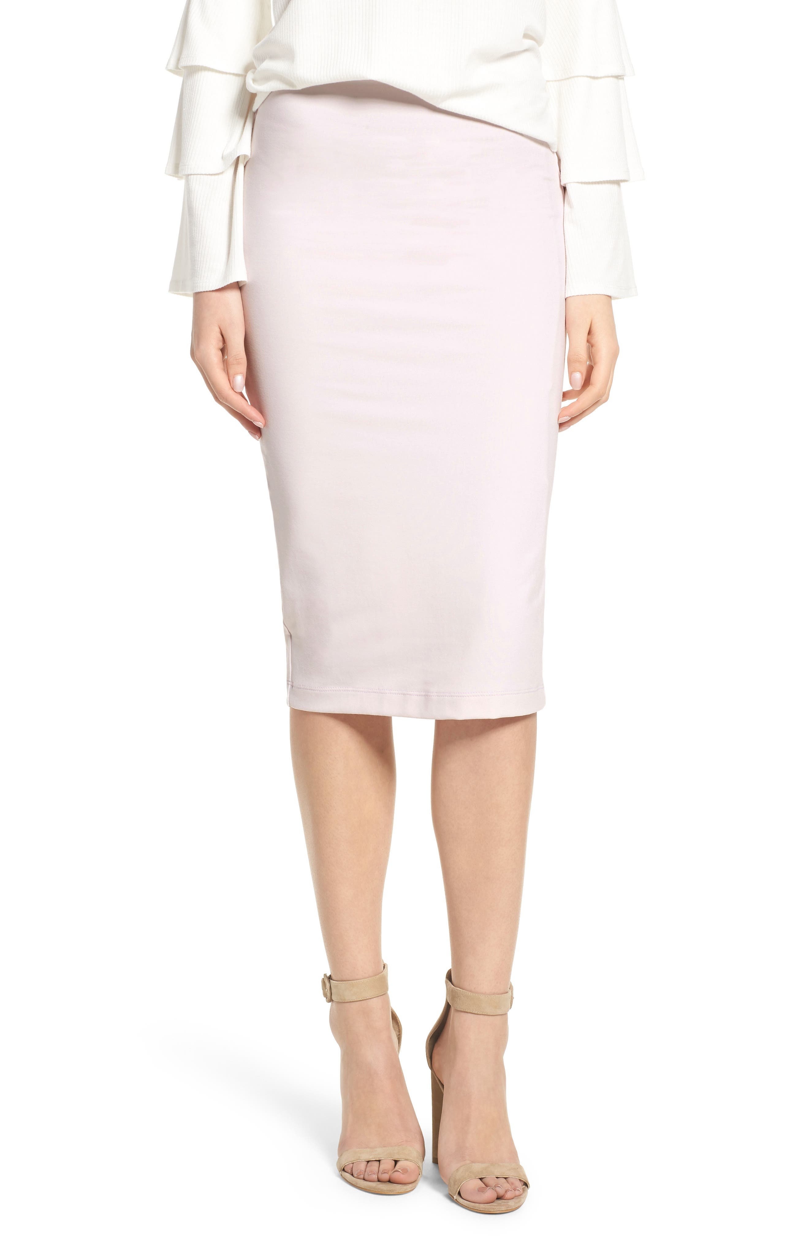 Tube High Rise Pencil Skirt,                             Main thumbnail 1, color,                             Soft Pink
