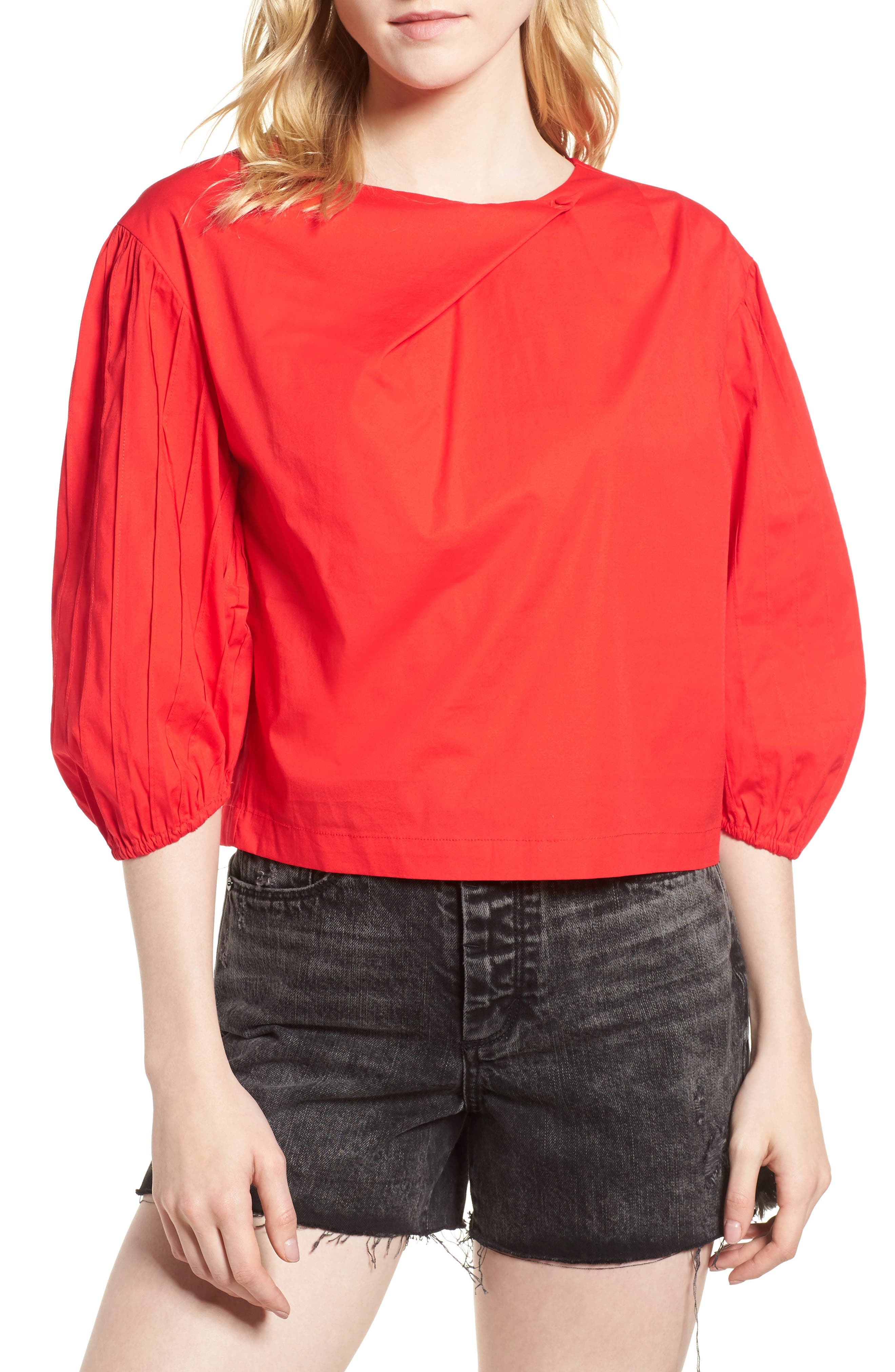 Leah Blouson Sleeve Top,                         Main,                         color, Fiery Red