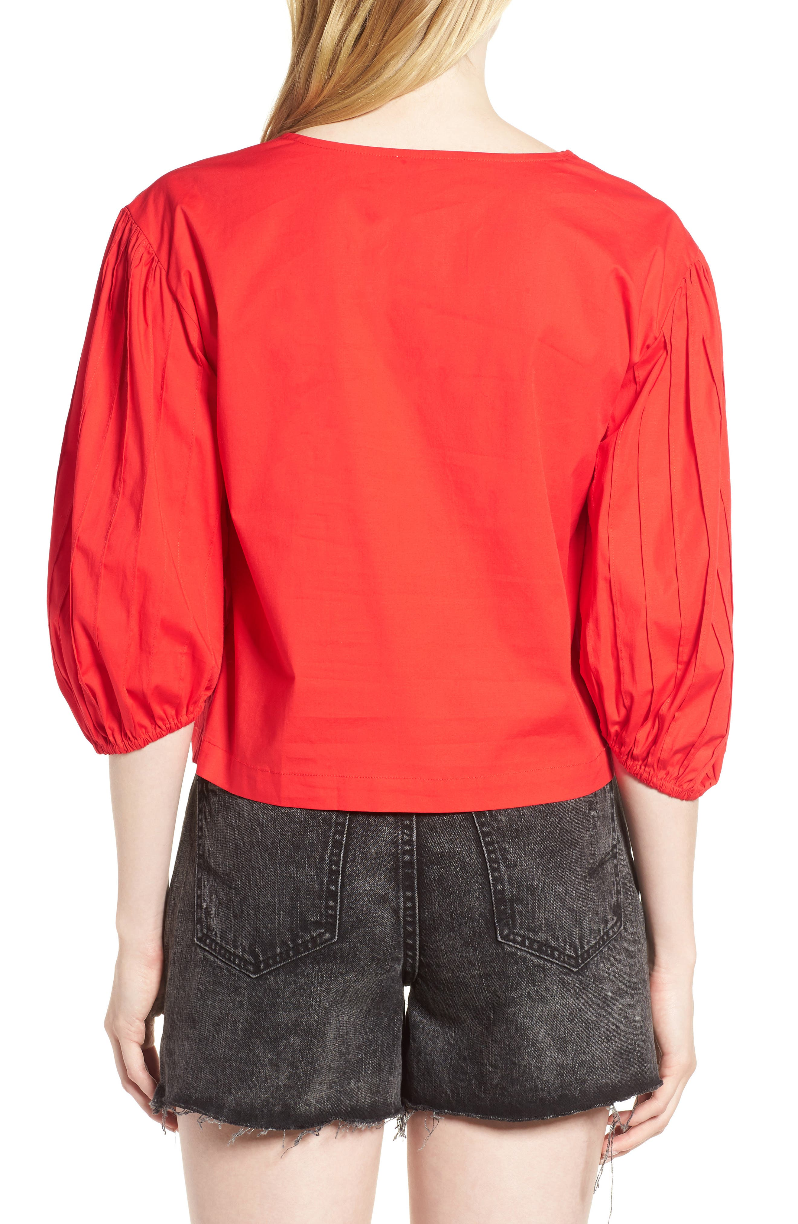 Leah Blouson Sleeve Top,                             Alternate thumbnail 2, color,                             Fiery Red