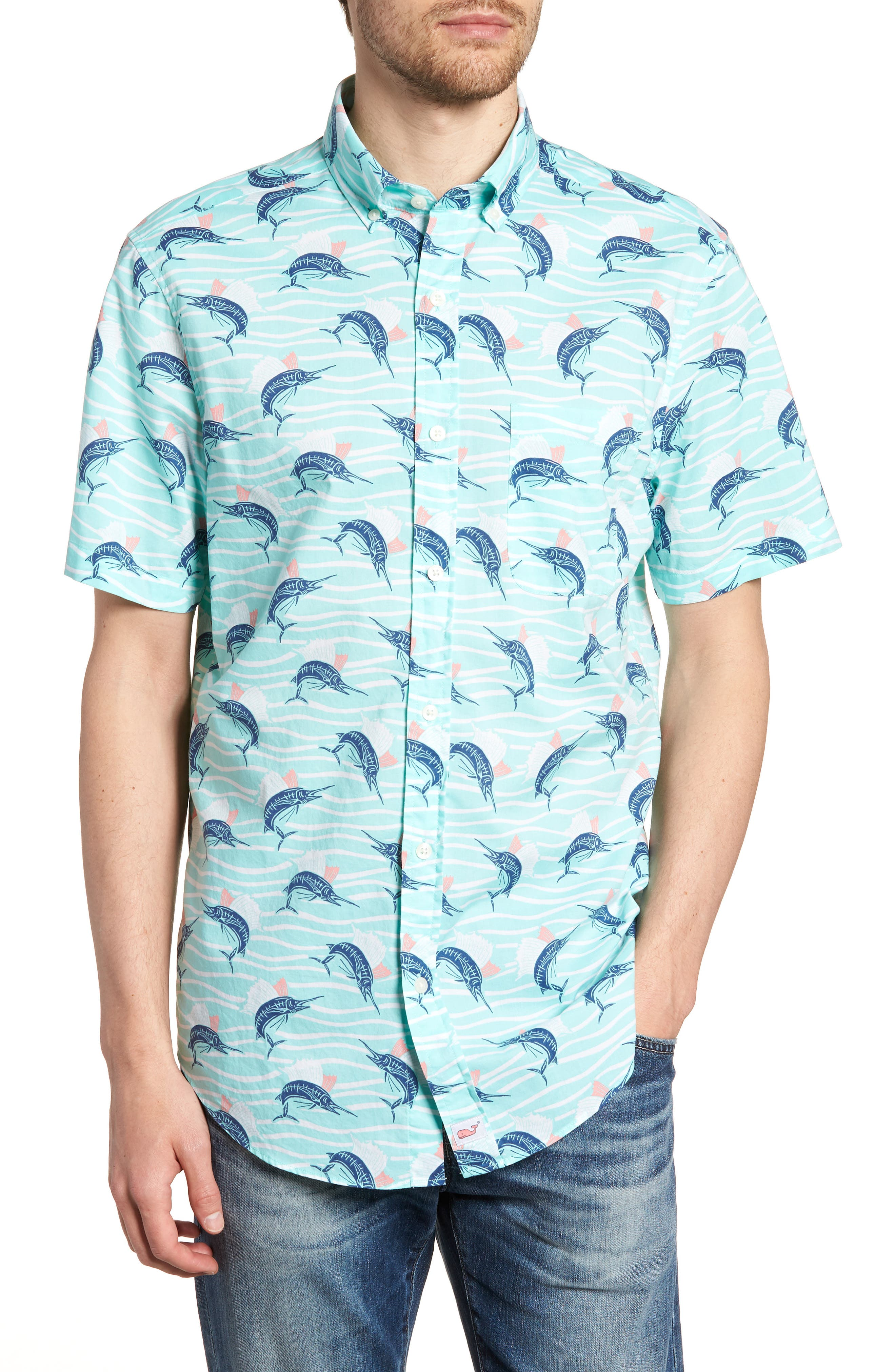 Classic Fit Print Short Sleeve Sport Shirt,                             Main thumbnail 1, color,                             Pool Side