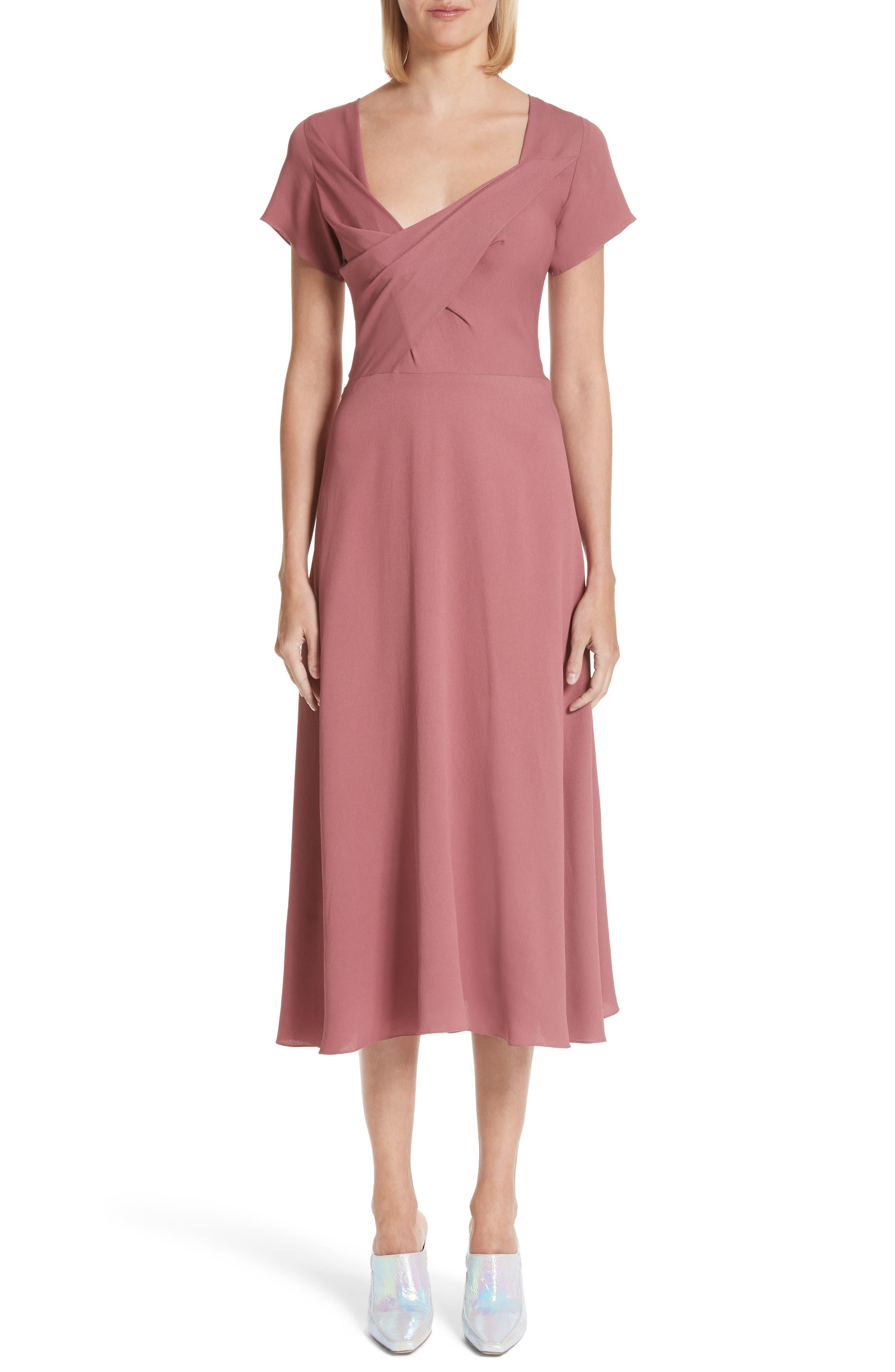 Asymmetrical Fold Bodice Dress,                             Main thumbnail 1, color,                             Dark Salmon