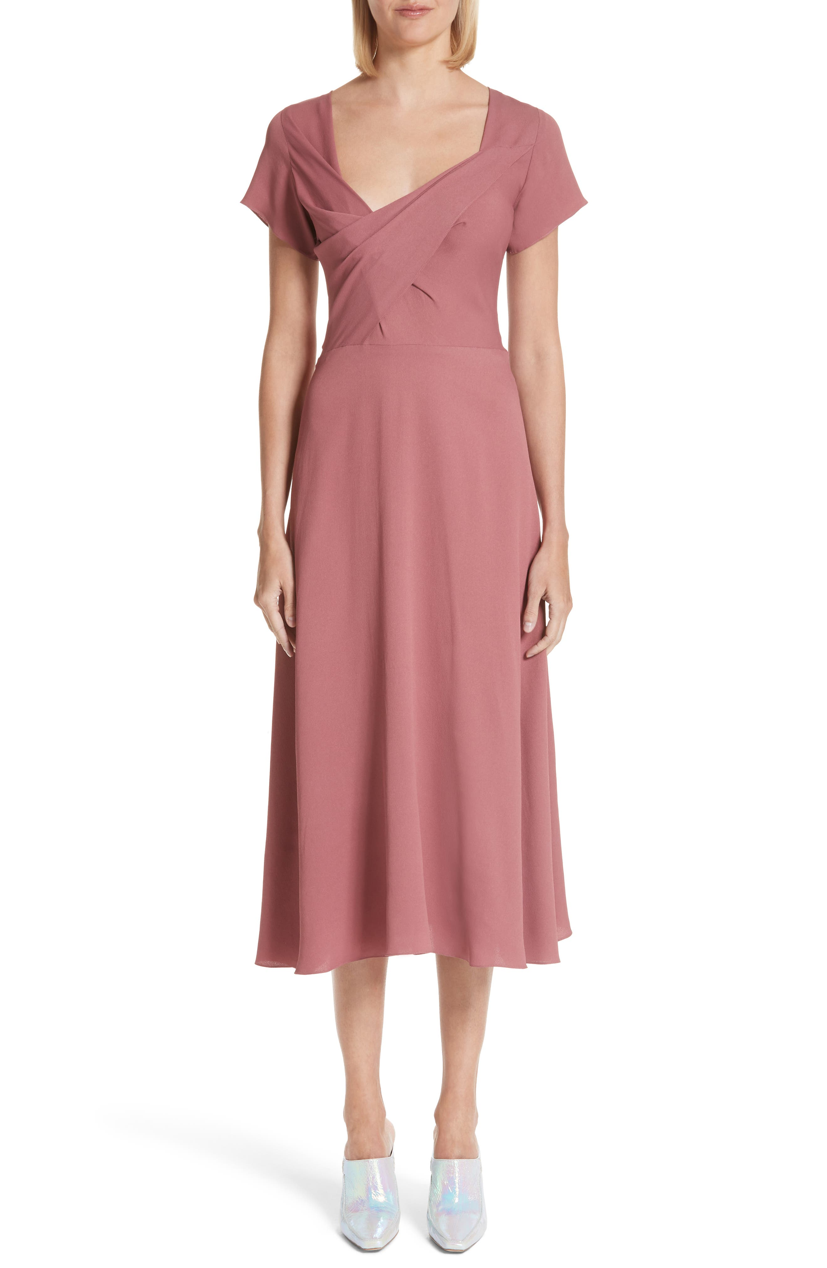 Asymmetrical Fold Bodice Dress,                         Main,                         color, Dark Salmon