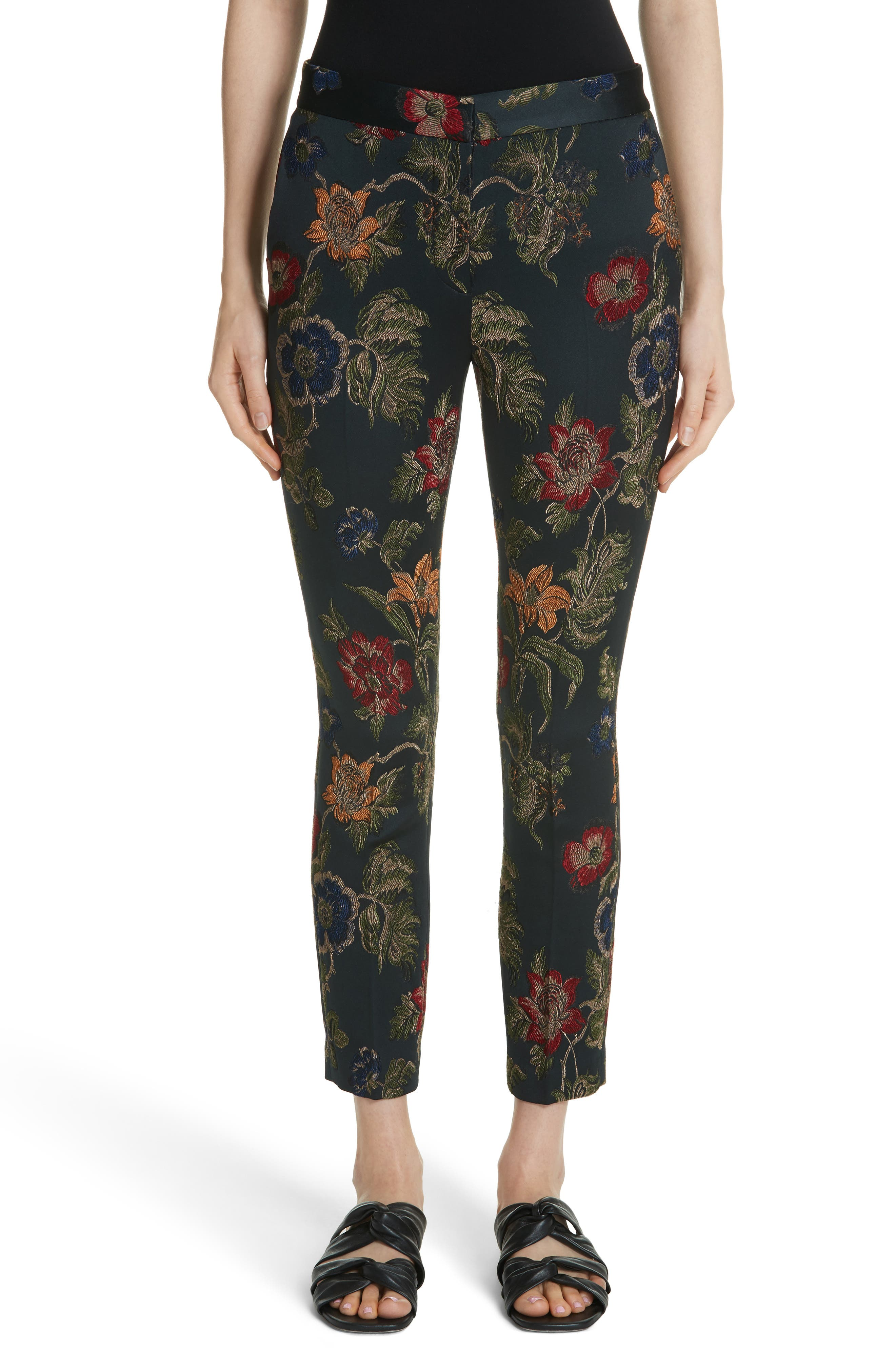 Rosetta Getty Floral Satin Jacquard Trousers