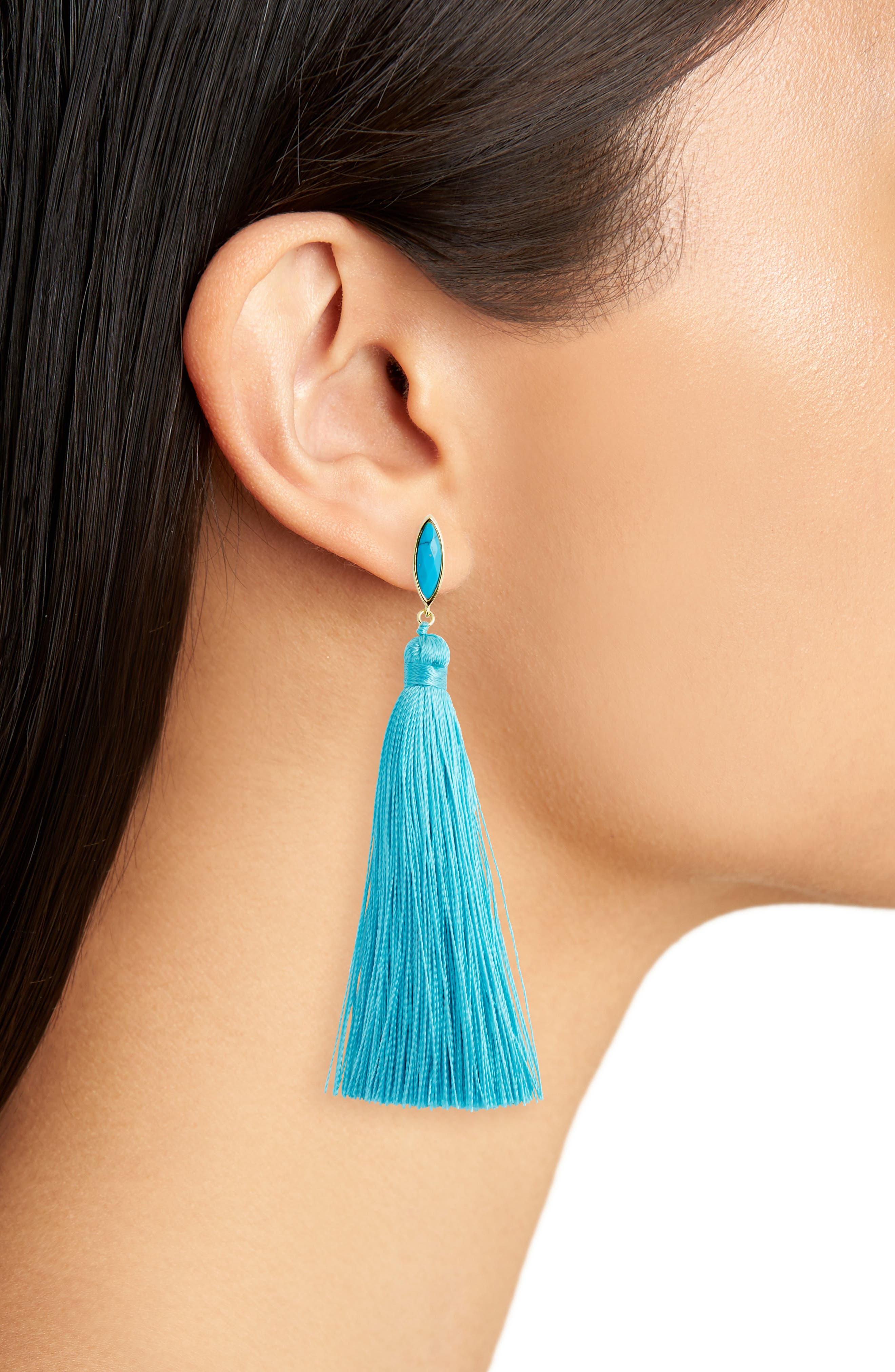 Palisades Tassel Earrings,                             Alternate thumbnail 2, color,                             Turquoise/ Gold