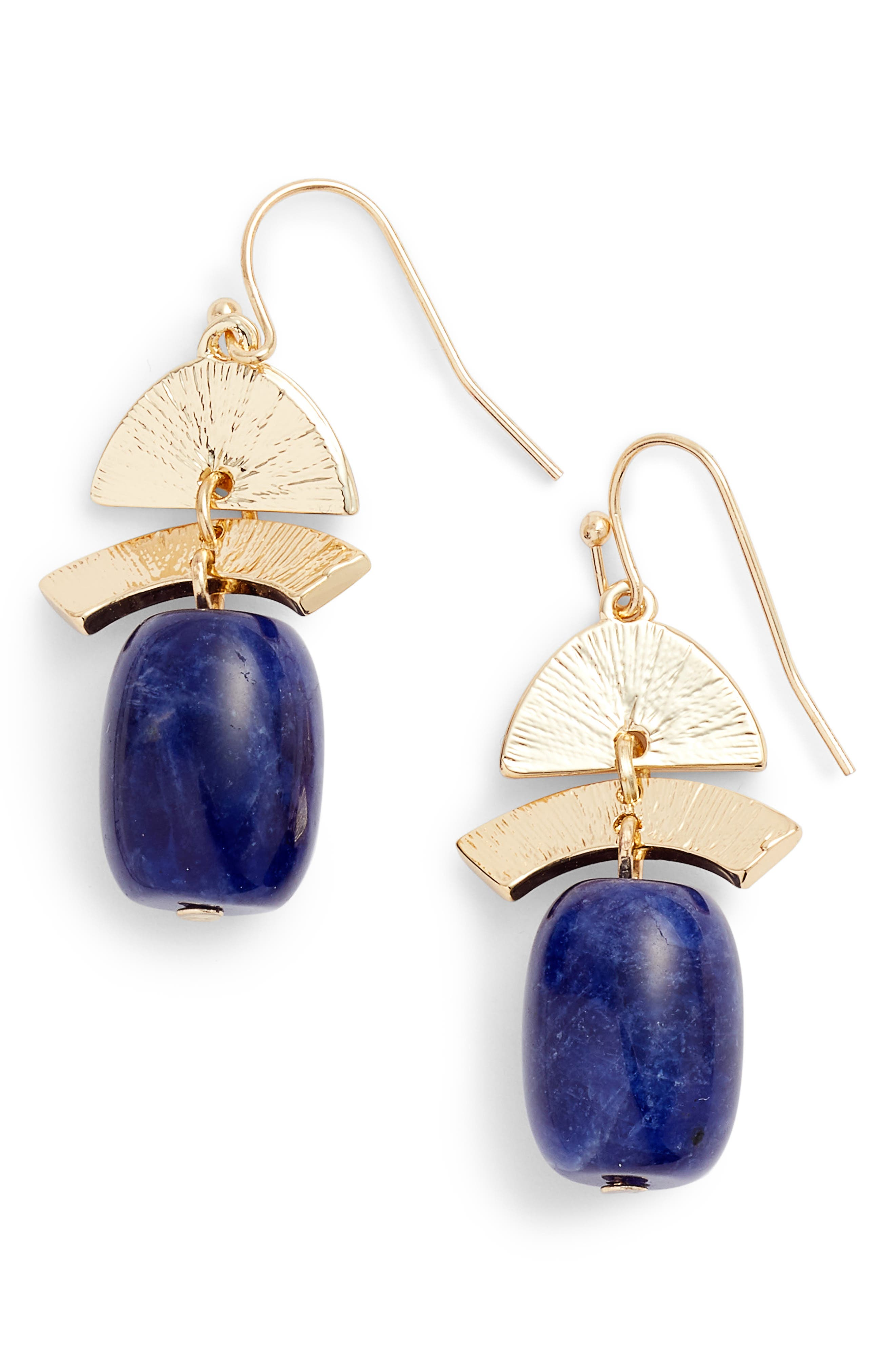 Geo Drop Earrings,                             Main thumbnail 1, color,                             Blue- Gold