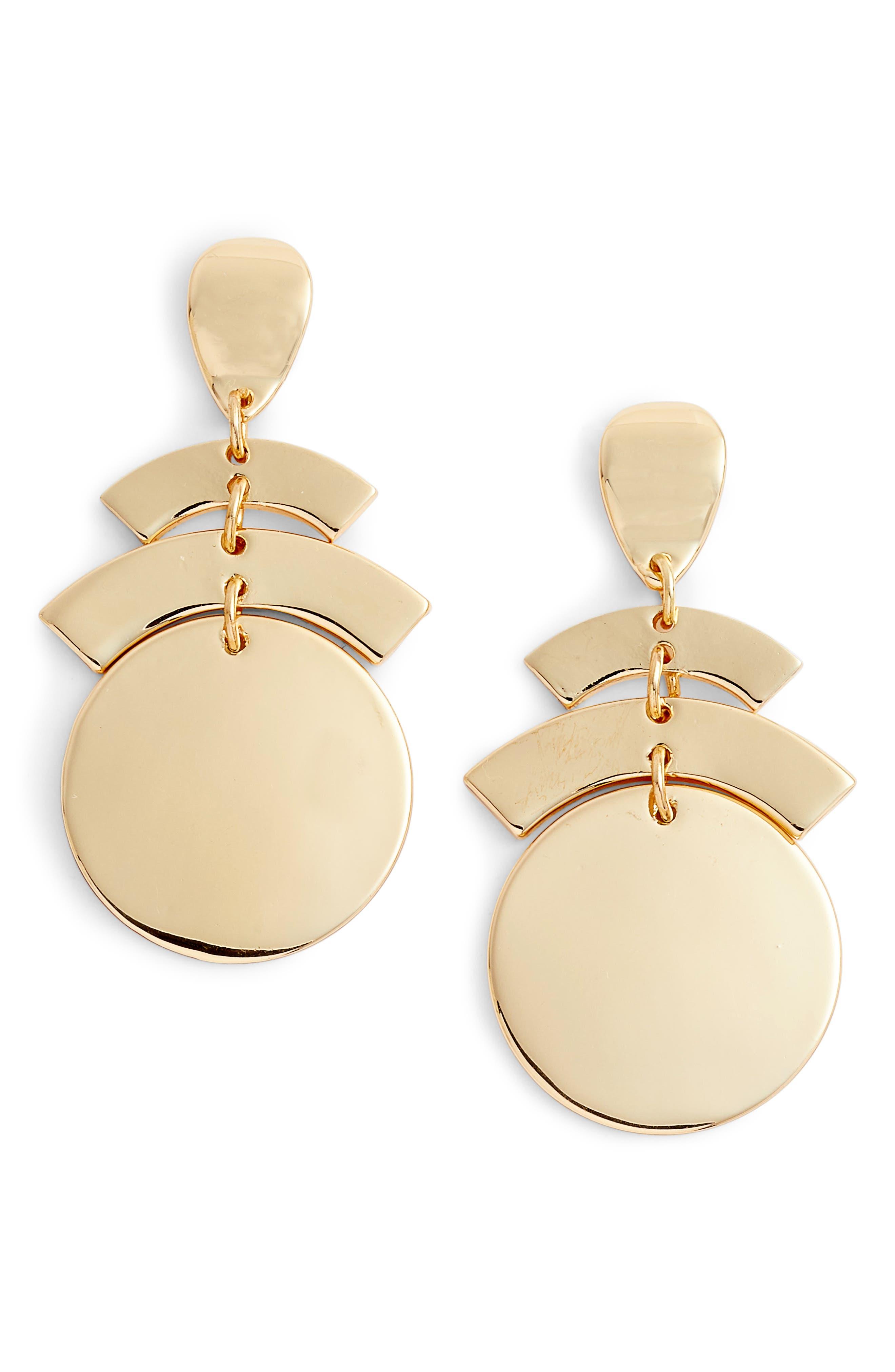 Geo Chandelier Earrings,                             Main thumbnail 1, color,                             Gold