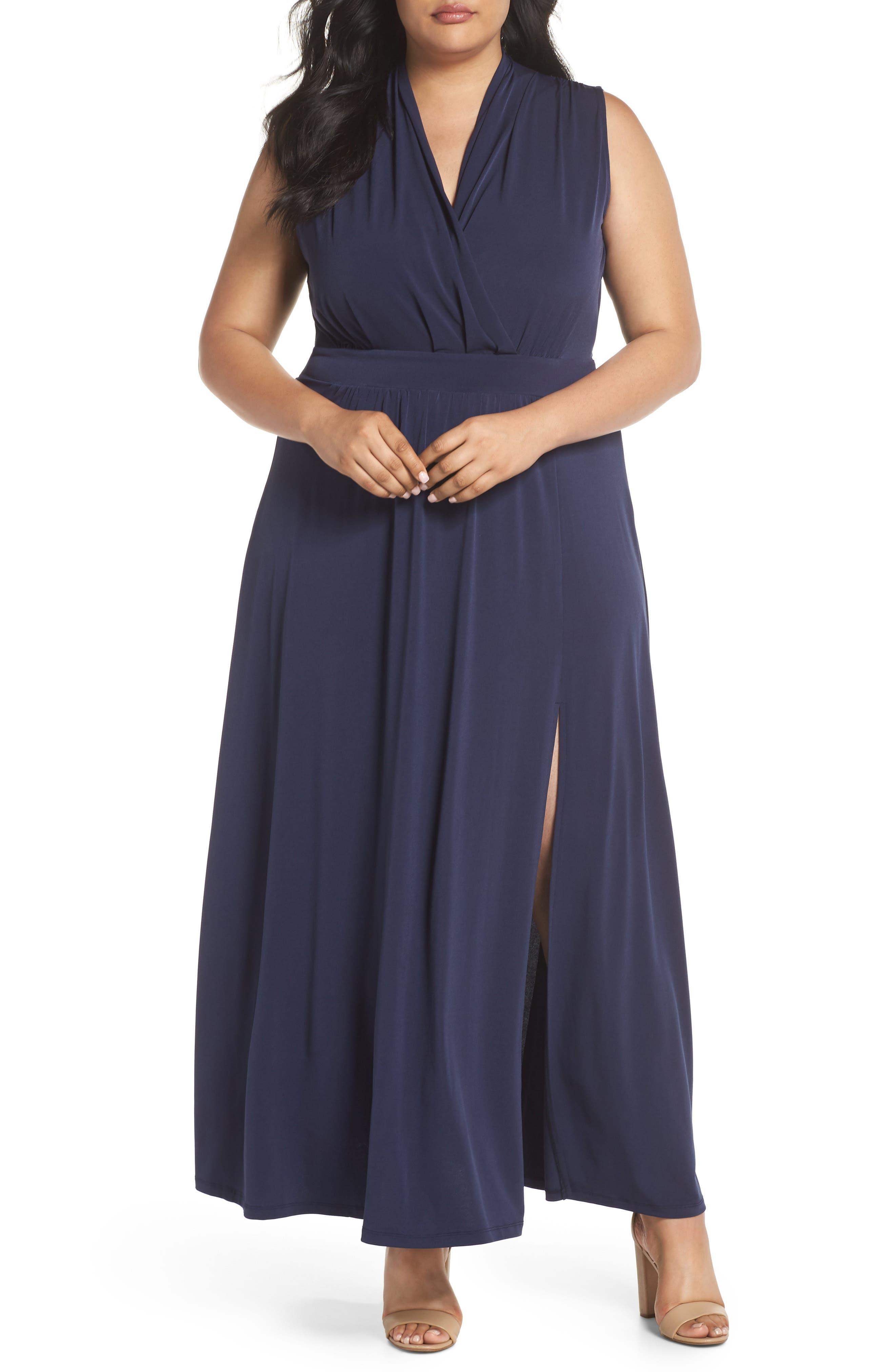 Slit Faux Wrap Maxi Dress,                             Main thumbnail 1, color,                             True Navy