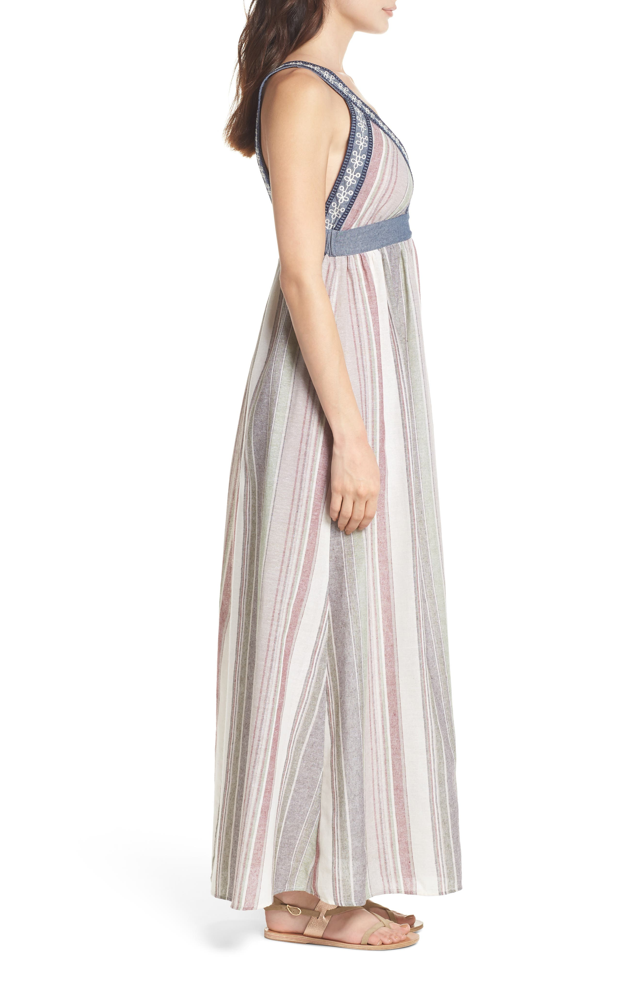 Stripe Maxi Dress,                             Alternate thumbnail 3, color,                             Cream