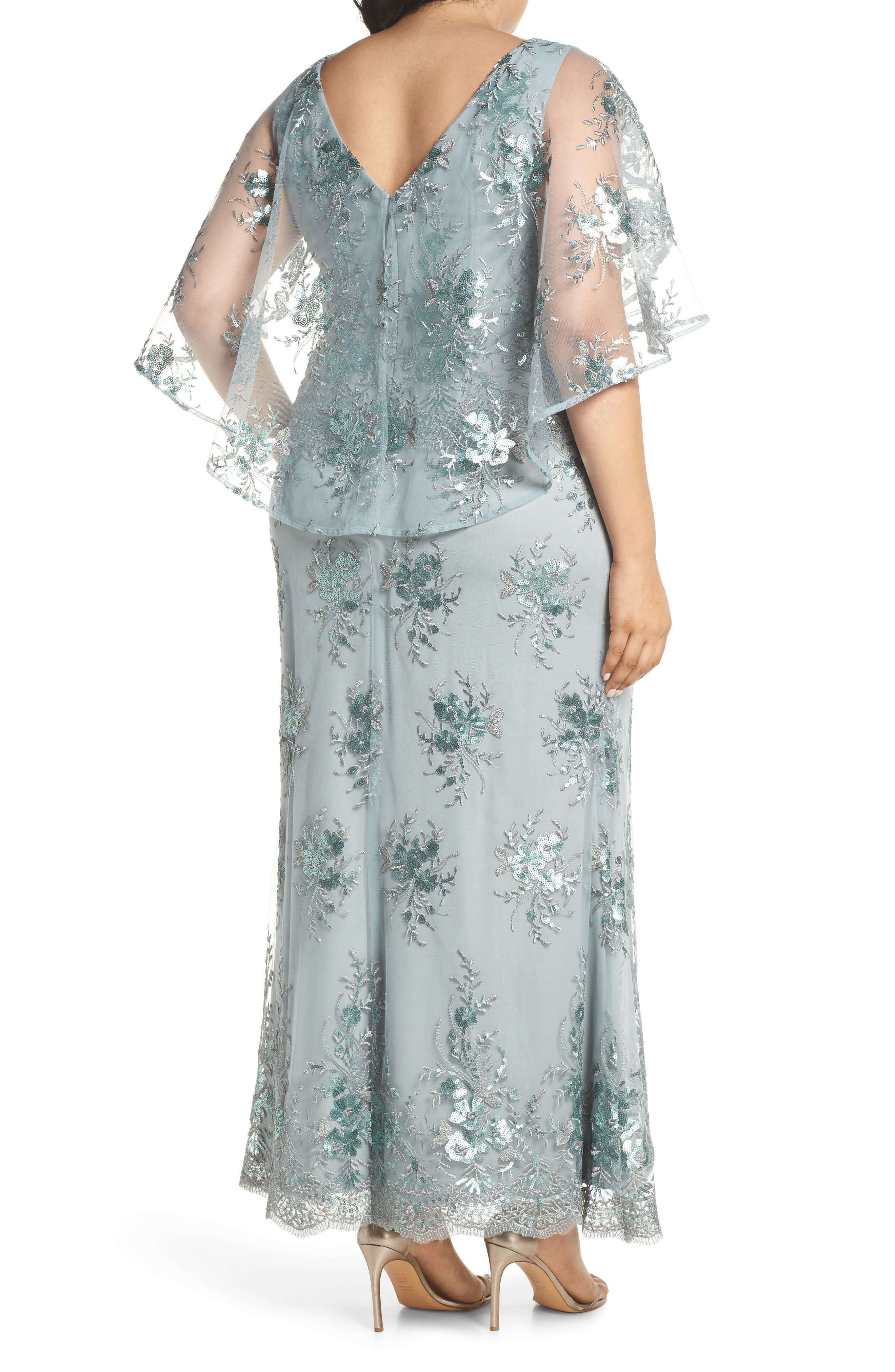 Embellished Capelet Mesh Gown,                             Alternate thumbnail 2, color,                             Seafoam