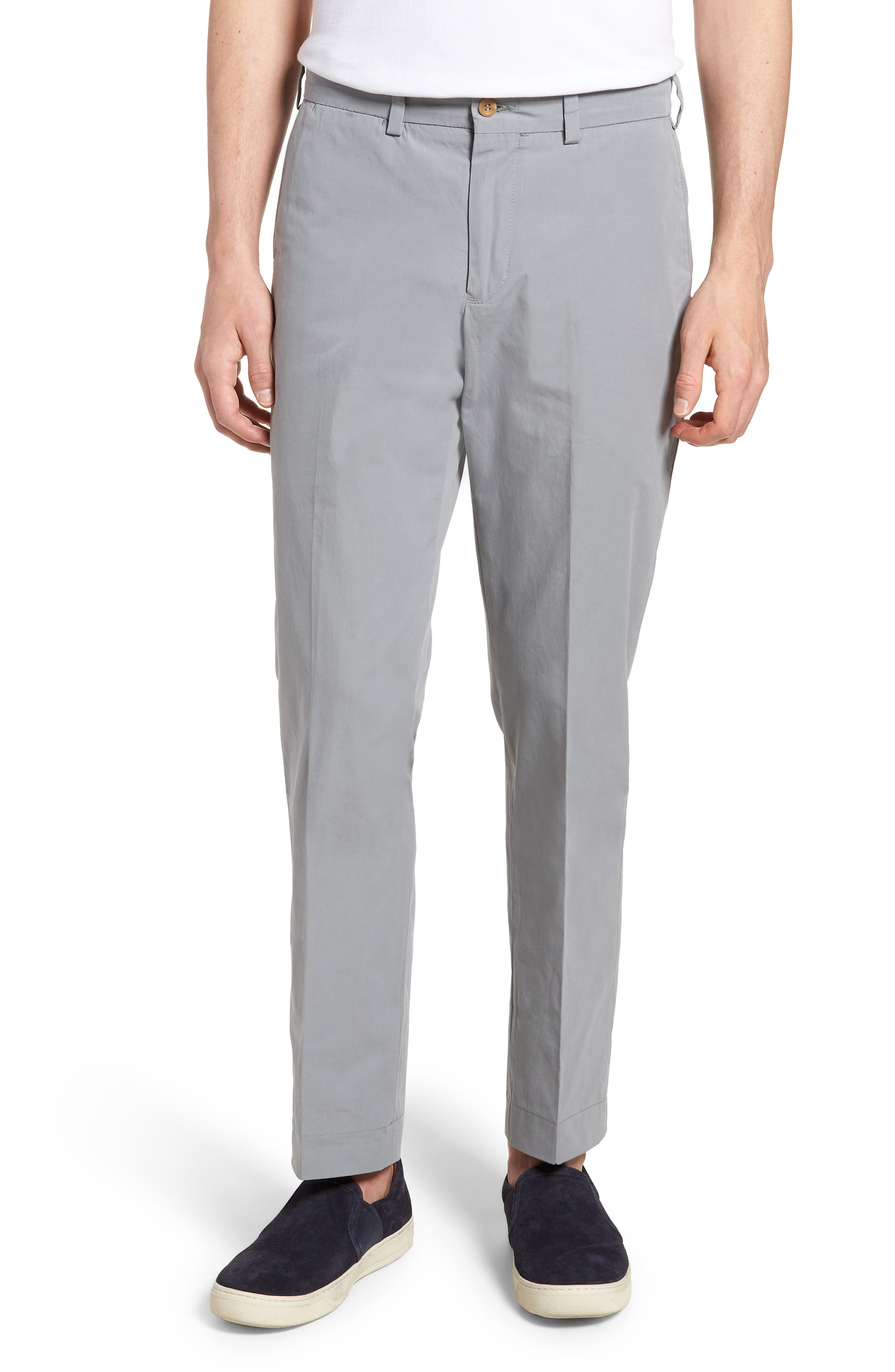 M3 Straight Fit Flat Front Tropical Poplin Pants,                         Main,                         color, Nickel