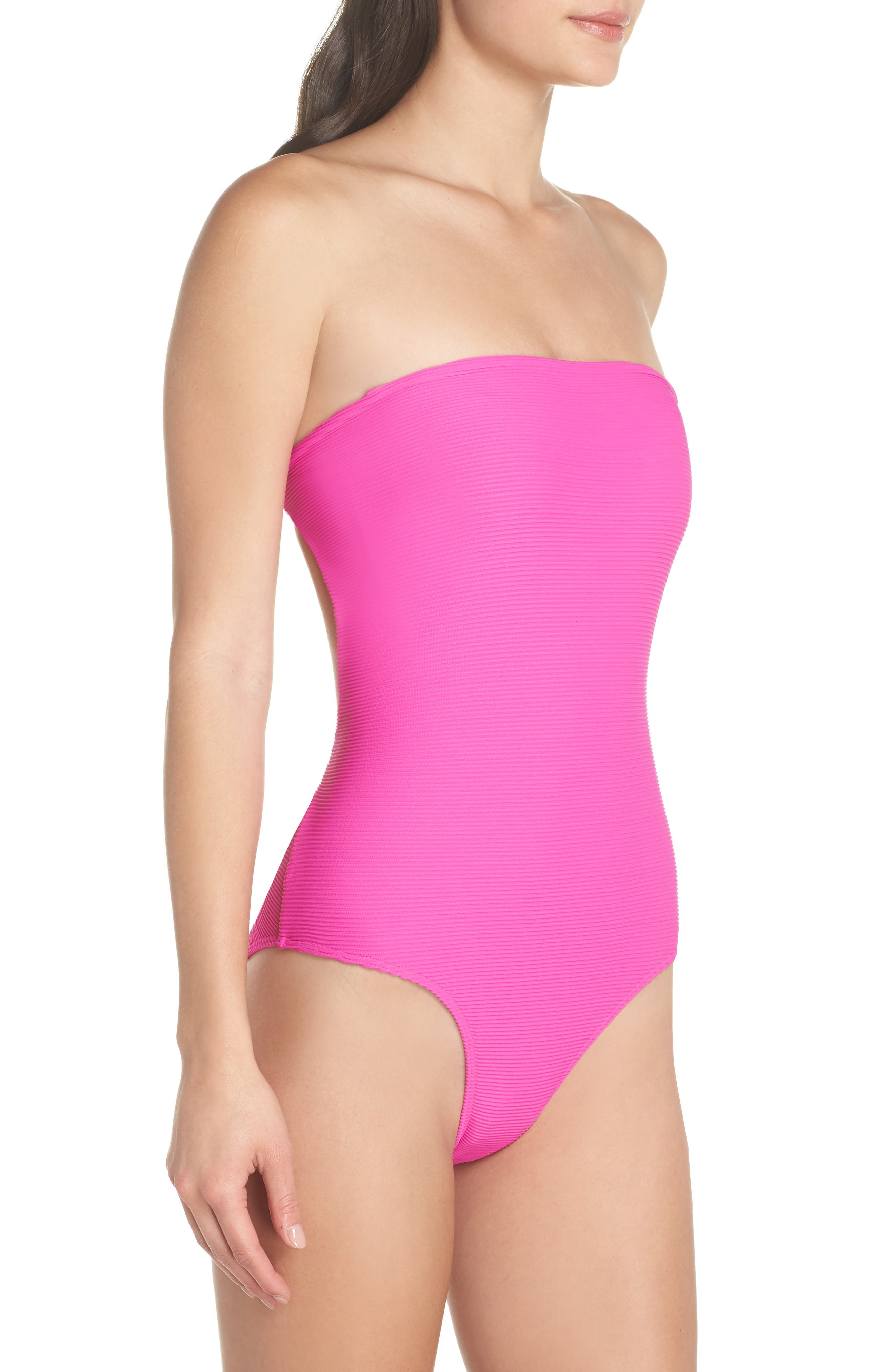 Tanlines Strapless One-Piece Swimsuit,                             Alternate thumbnail 4, color,                             Rebel Pink