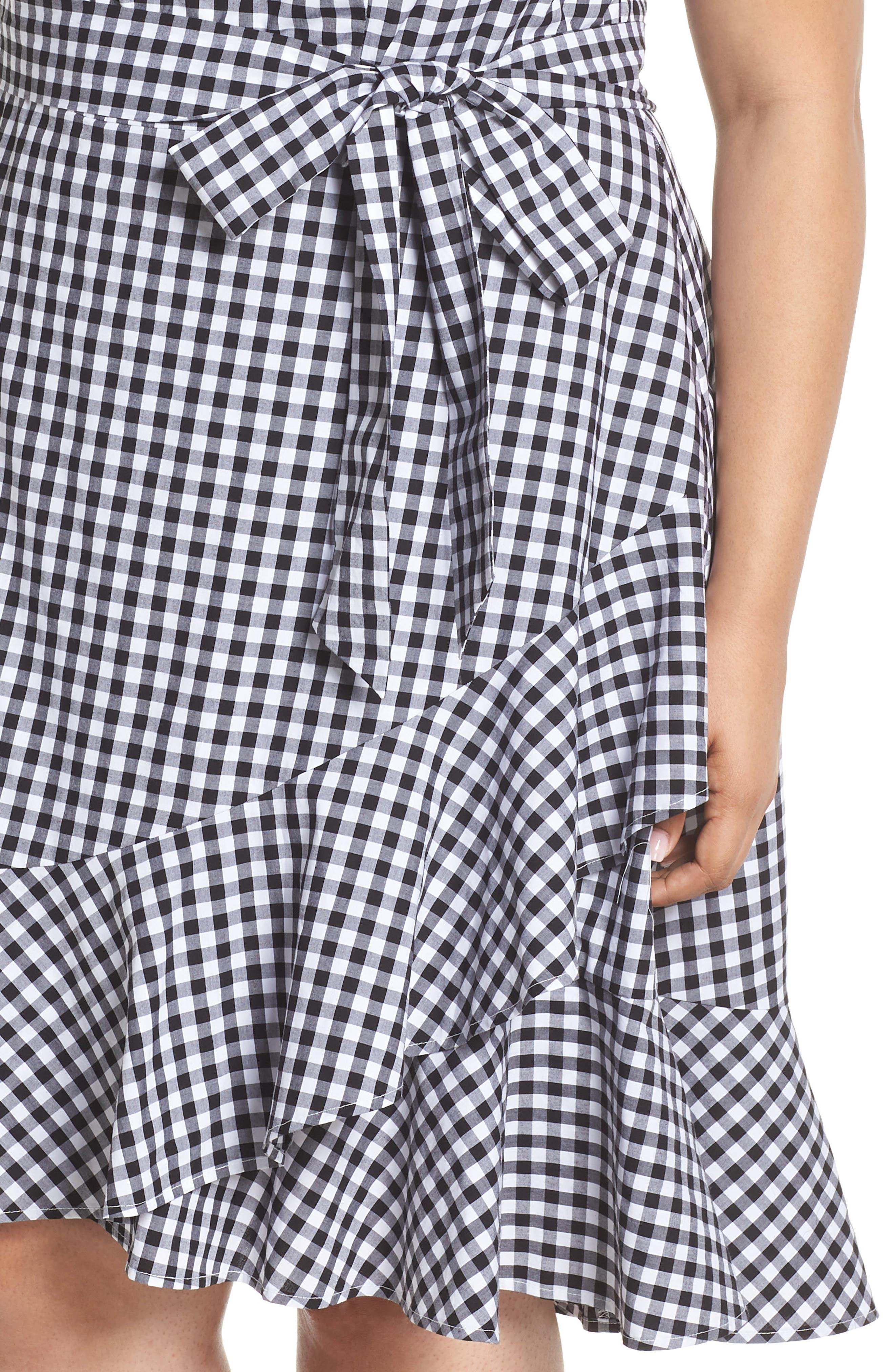 Belted Ruffle Hem Gingham Dress,                             Alternate thumbnail 4, color,                             Black/ White