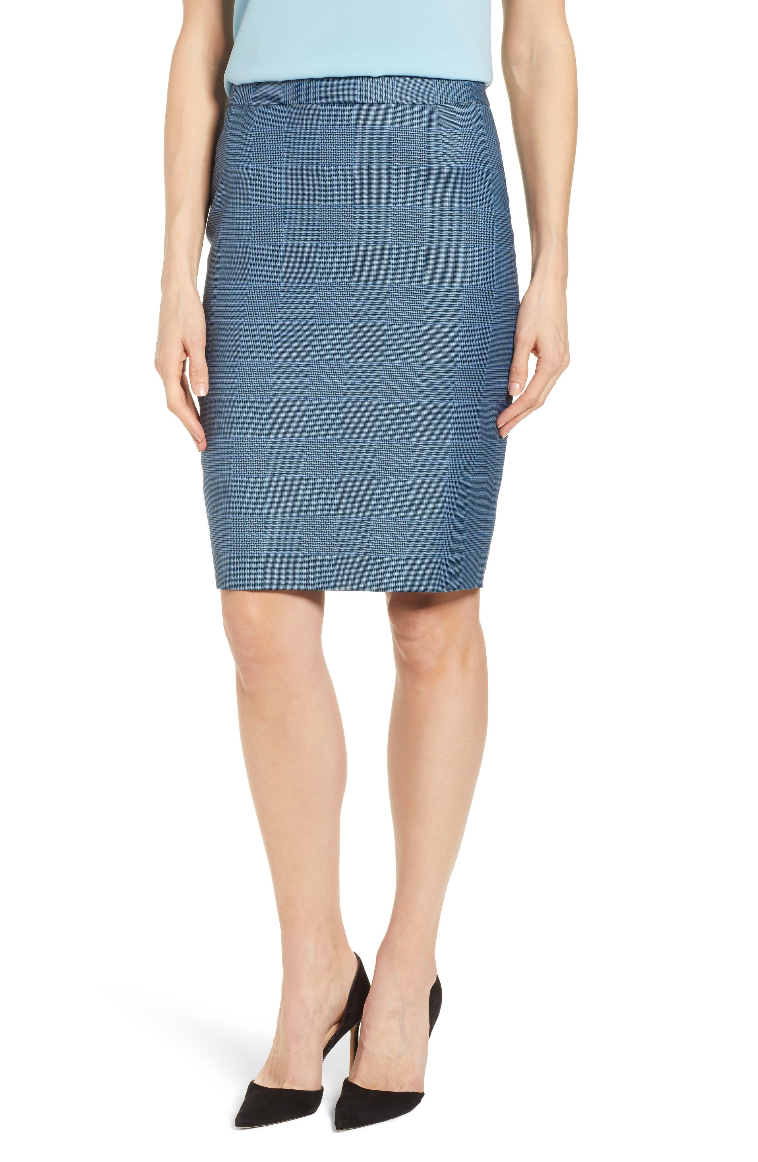 Vimena Glencheck Stretch Wool Pencil Skirt,                         Main,                         color, Sailor Blue Fantasy